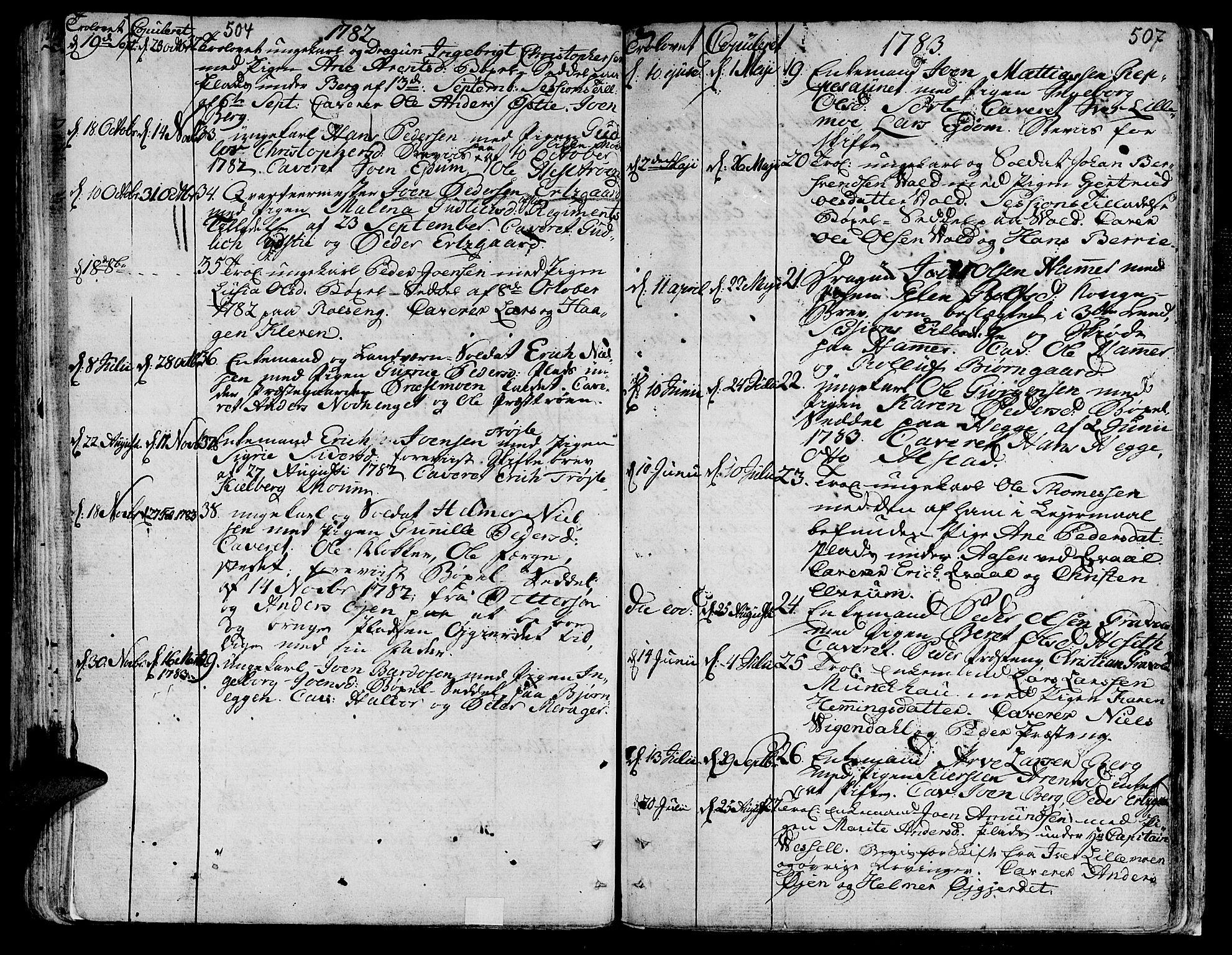 SAT, Ministerialprotokoller, klokkerbøker og fødselsregistre - Nord-Trøndelag, 709/L0059: Ministerialbok nr. 709A06, 1781-1797, s. 504-507