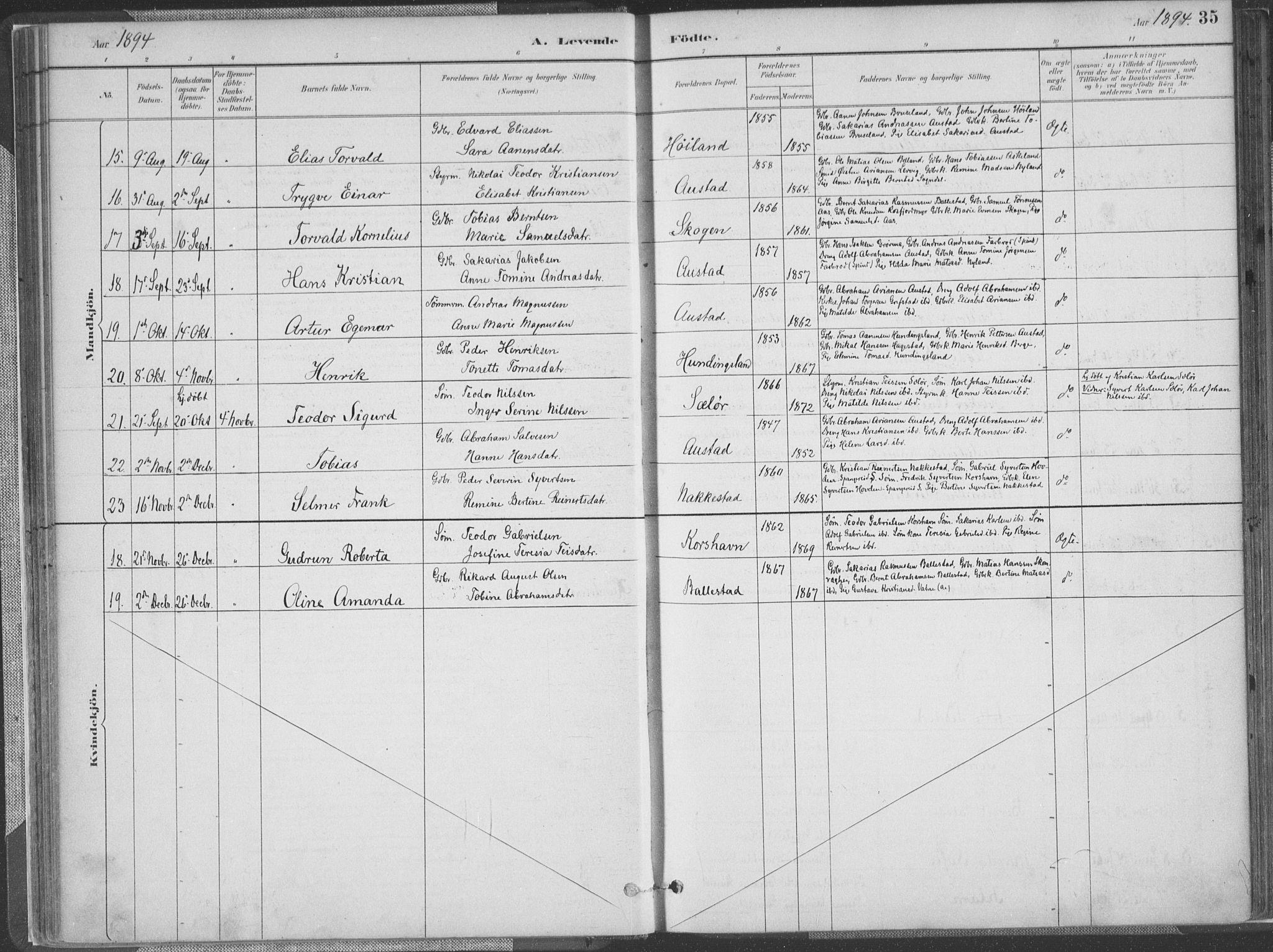 SAK, Lyngdal sokneprestkontor, F/Fa/Faa/L0004: Ministerialbok nr. A 4, 1883-1904, s. 35