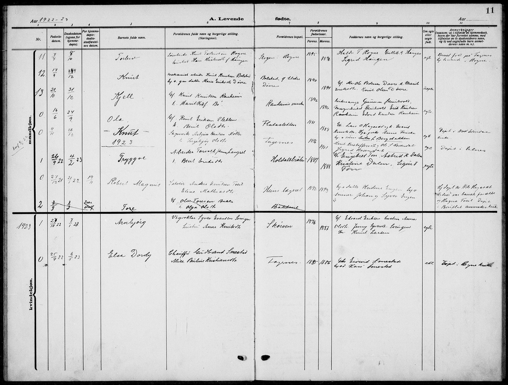 SAH, Nord-Aurdal prestekontor, Klokkerbok nr. 15, 1918-1935, s. 11