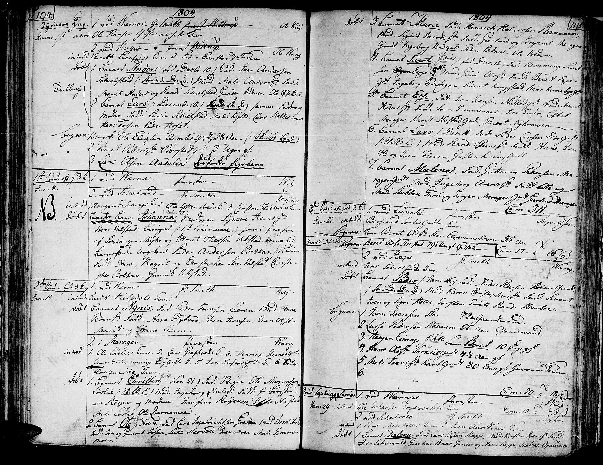 SAT, Ministerialprotokoller, klokkerbøker og fødselsregistre - Nord-Trøndelag, 709/L0060: Ministerialbok nr. 709A07, 1797-1815, s. 194-195