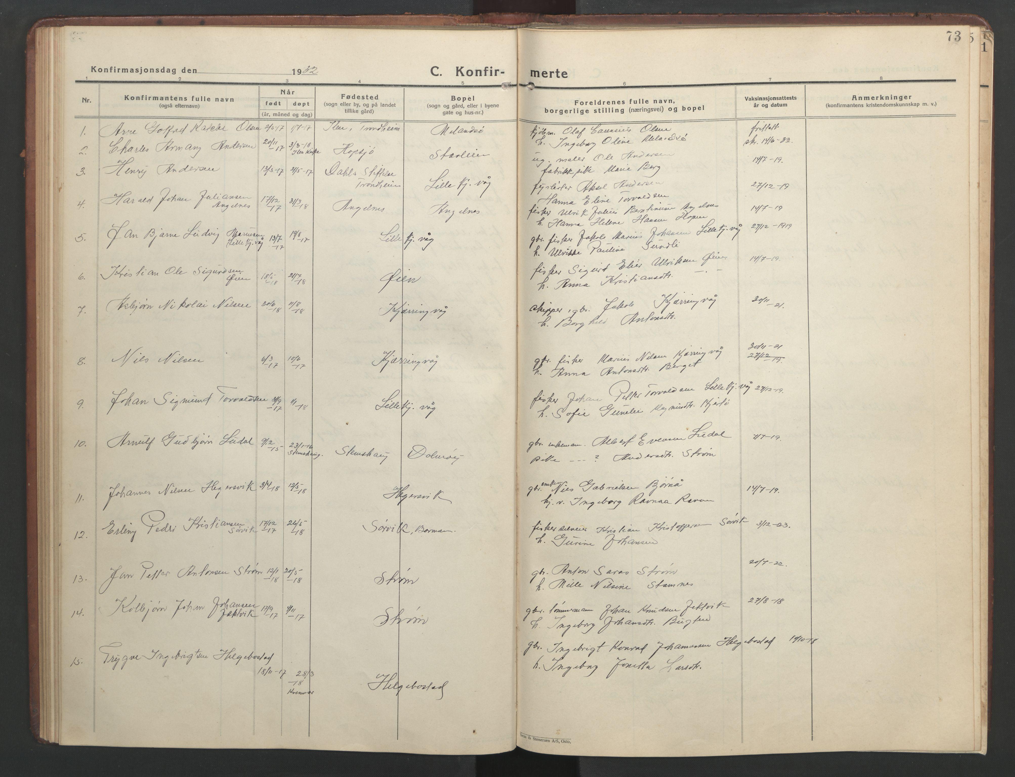 SAT, Ministerialprotokoller, klokkerbøker og fødselsregistre - Sør-Trøndelag, 634/L0544: Klokkerbok nr. 634C06, 1927-1948, s. 73