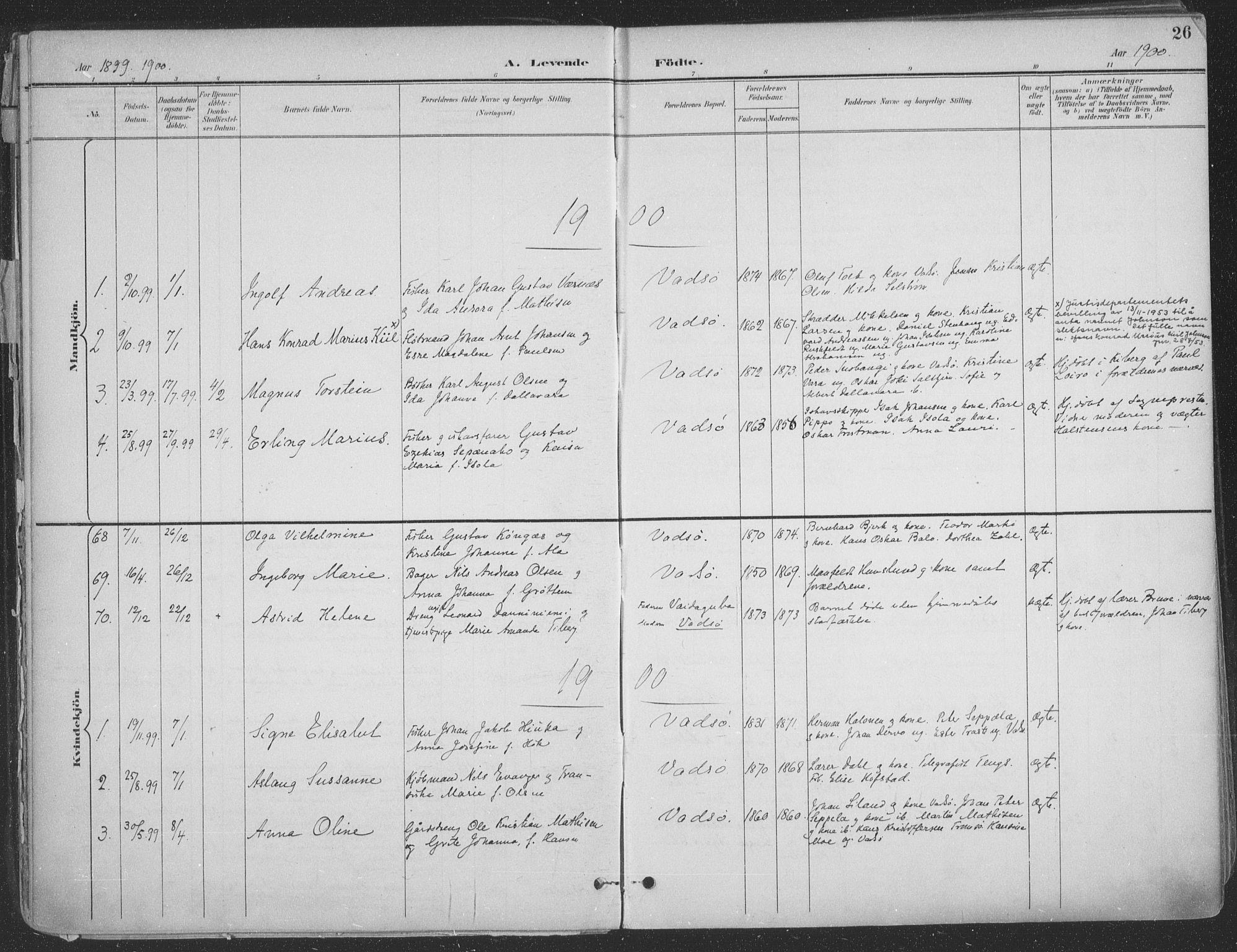 SATØ, Vadsø sokneprestkontor, H/Ha/L0007kirke: Ministerialbok nr. 7, 1896-1916, s. 26