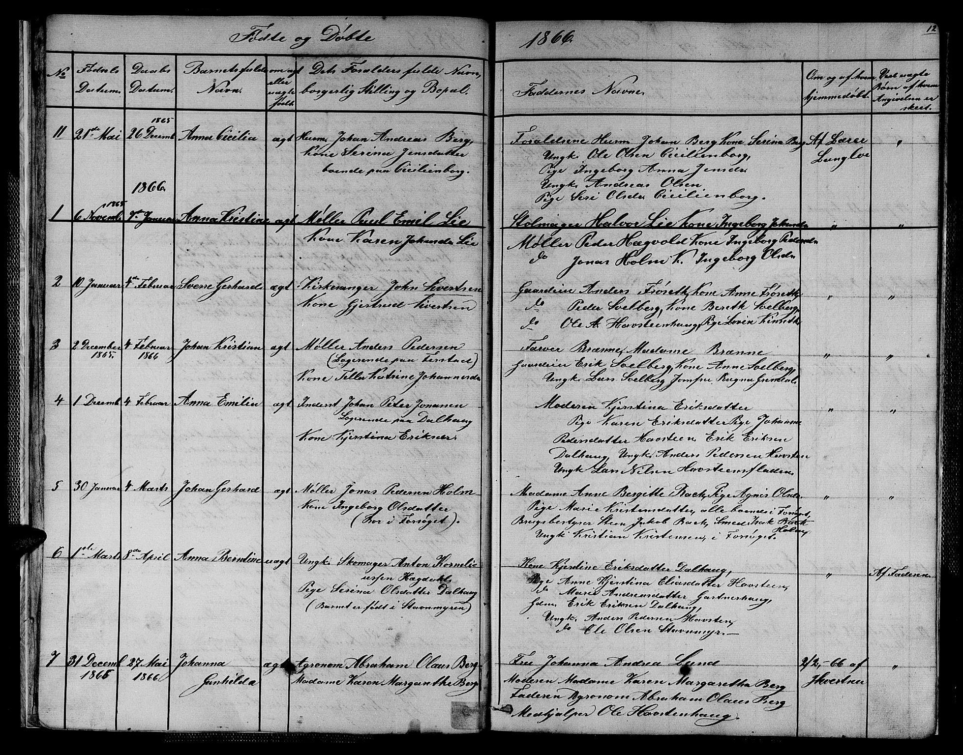 SAT, Ministerialprotokoller, klokkerbøker og fødselsregistre - Sør-Trøndelag, 611/L0353: Klokkerbok nr. 611C01, 1854-1881, s. 12