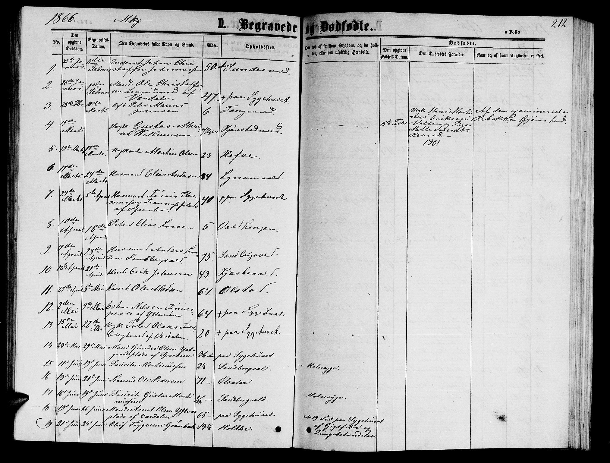 SAT, Ministerialprotokoller, klokkerbøker og fødselsregistre - Nord-Trøndelag, 717/L0170: Klokkerbok nr. 717C02, 1866-1866, s. 212
