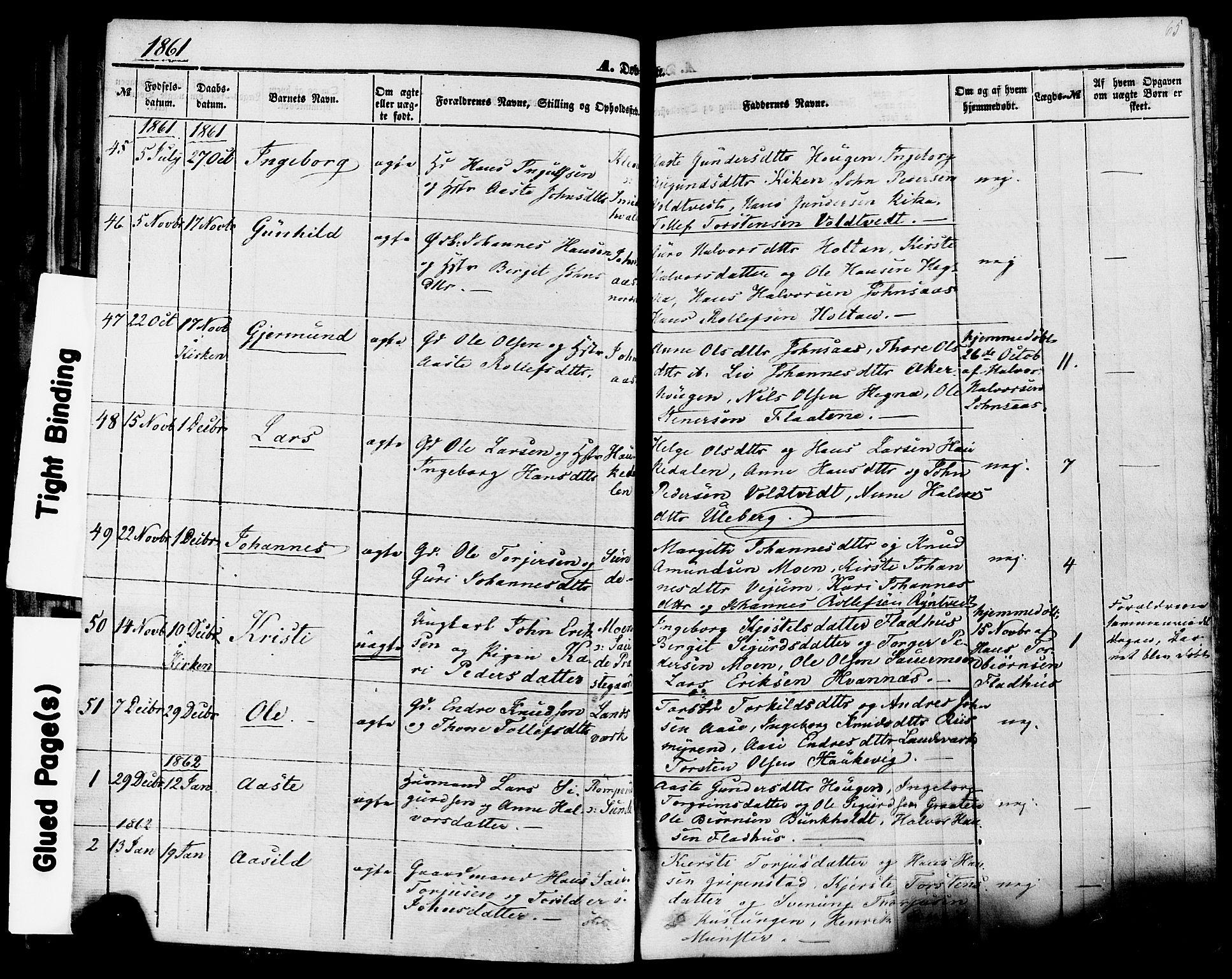 SAKO, Sauherad kirkebøker, F/Fa/L0007: Ministerialbok nr. I 7, 1851-1873, s. 65
