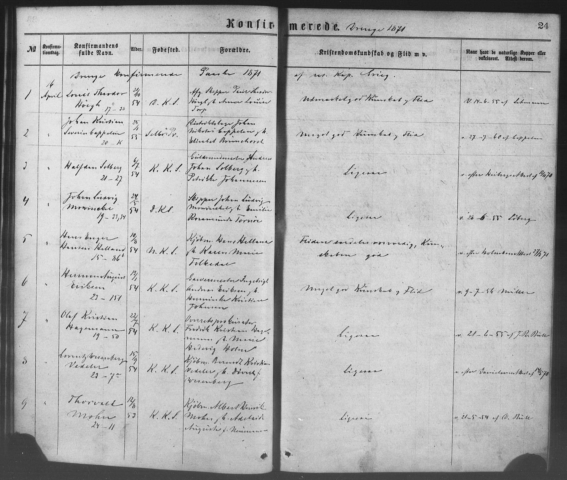 SAB, Korskirken Sokneprestembete, H/Haa/L0028: Ministerialbok nr. C 4, 1868-1879, s. 24