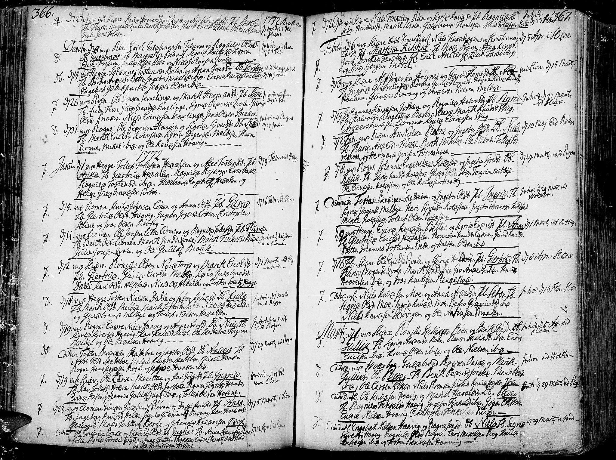 SAH, Slidre prestekontor, Ministerialbok nr. 1, 1724-1814, s. 366-367