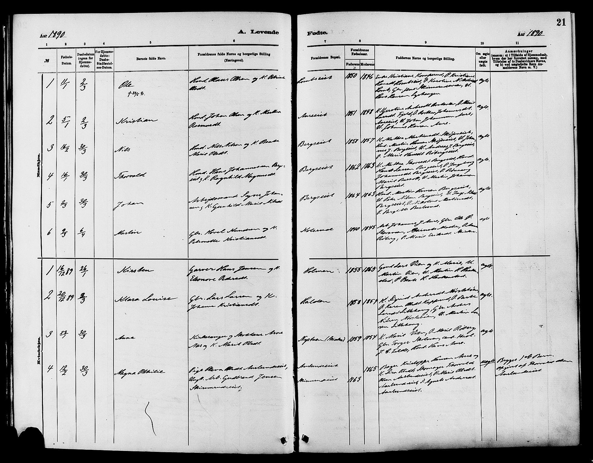SAH, Nordre Land prestekontor, Ministerialbok nr. 3, 1882-1896, s. 21