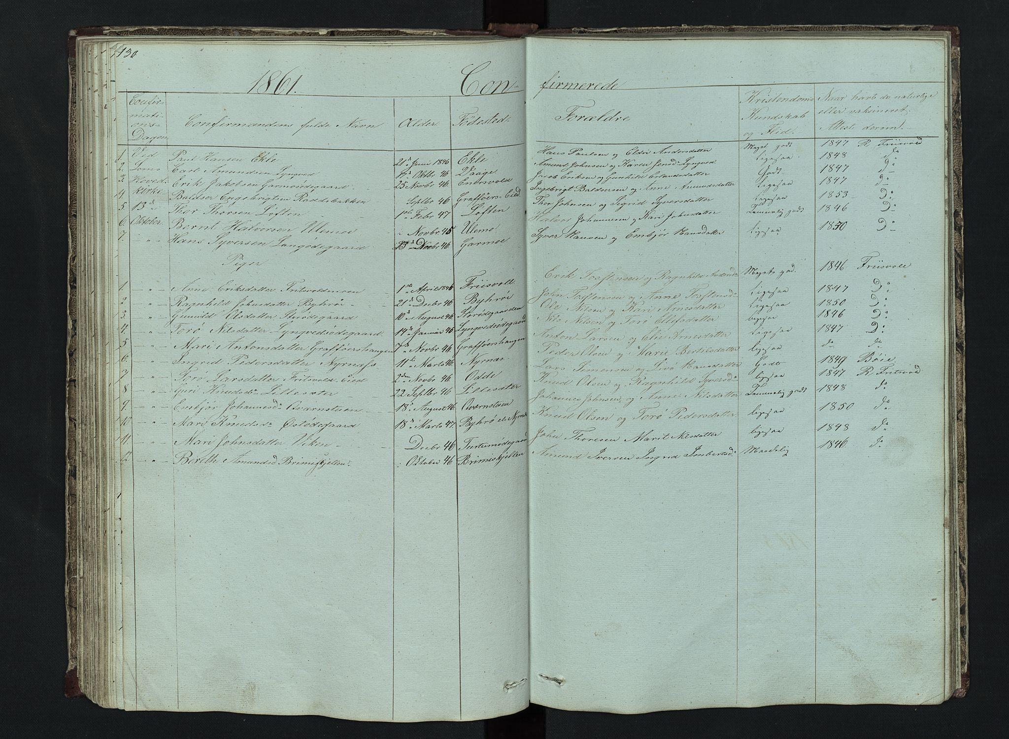SAH, Lom prestekontor, L/L0014: Klokkerbok nr. 14, 1845-1876, s. 130-131