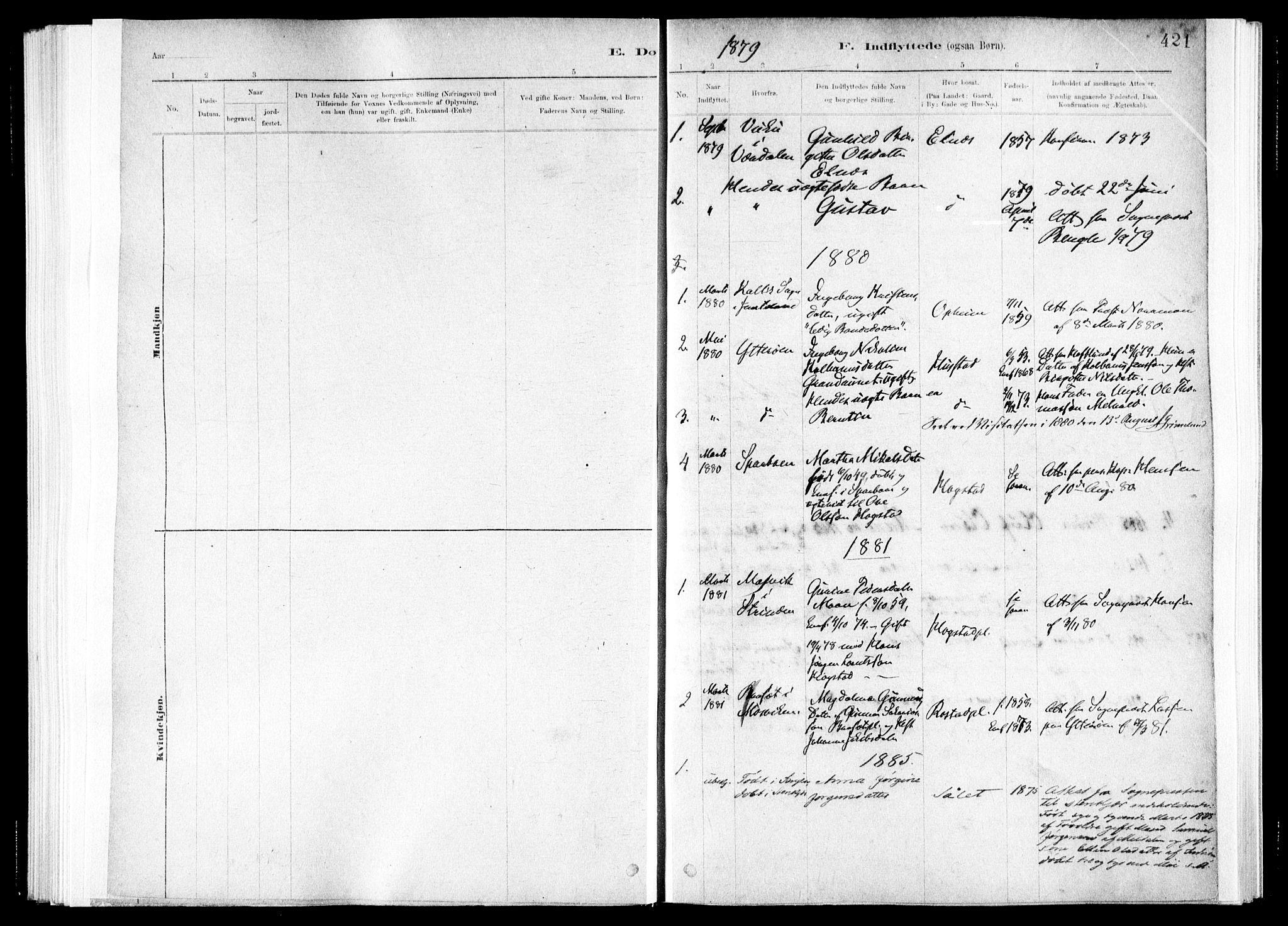 SAT, Ministerialprotokoller, klokkerbøker og fødselsregistre - Nord-Trøndelag, 730/L0285: Ministerialbok nr. 730A10, 1879-1914, s. 421