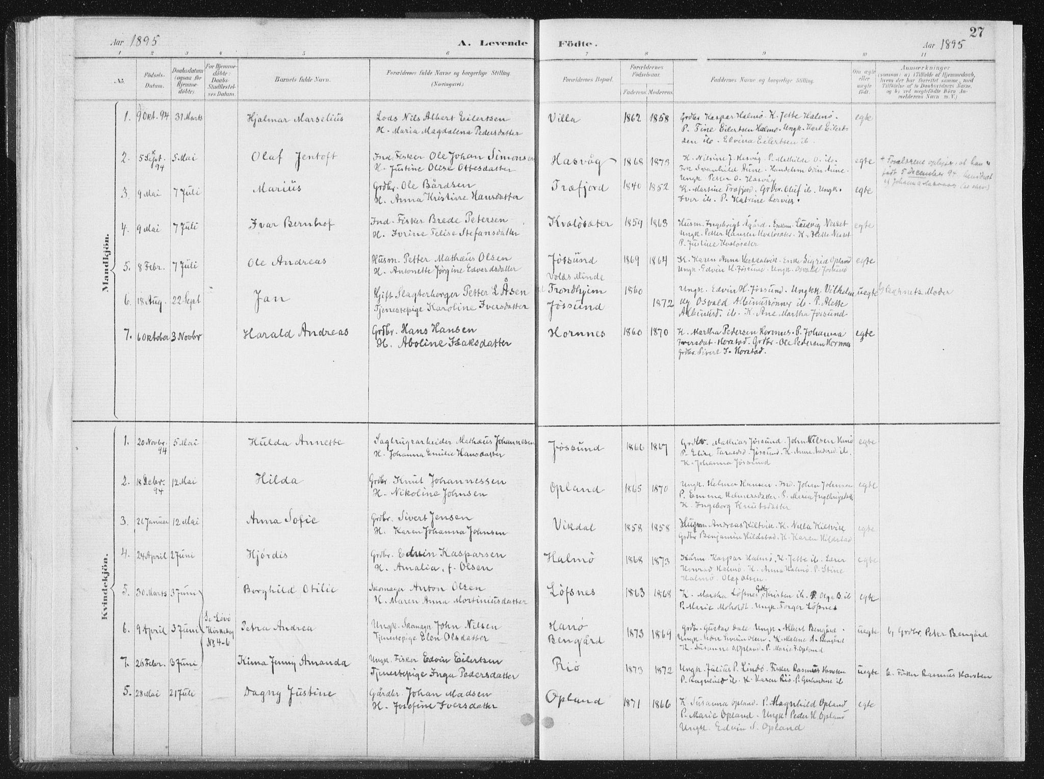SAT, Ministerialprotokoller, klokkerbøker og fødselsregistre - Nord-Trøndelag, 771/L0597: Ministerialbok nr. 771A04, 1885-1910, s. 27