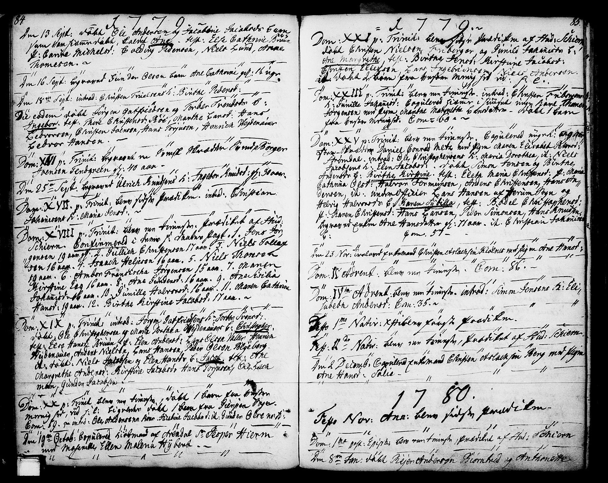 SAKO, Porsgrunn kirkebøker , F/Fa/L0002: Ministerialbok nr. 2, 1764-1814, s. 84-85