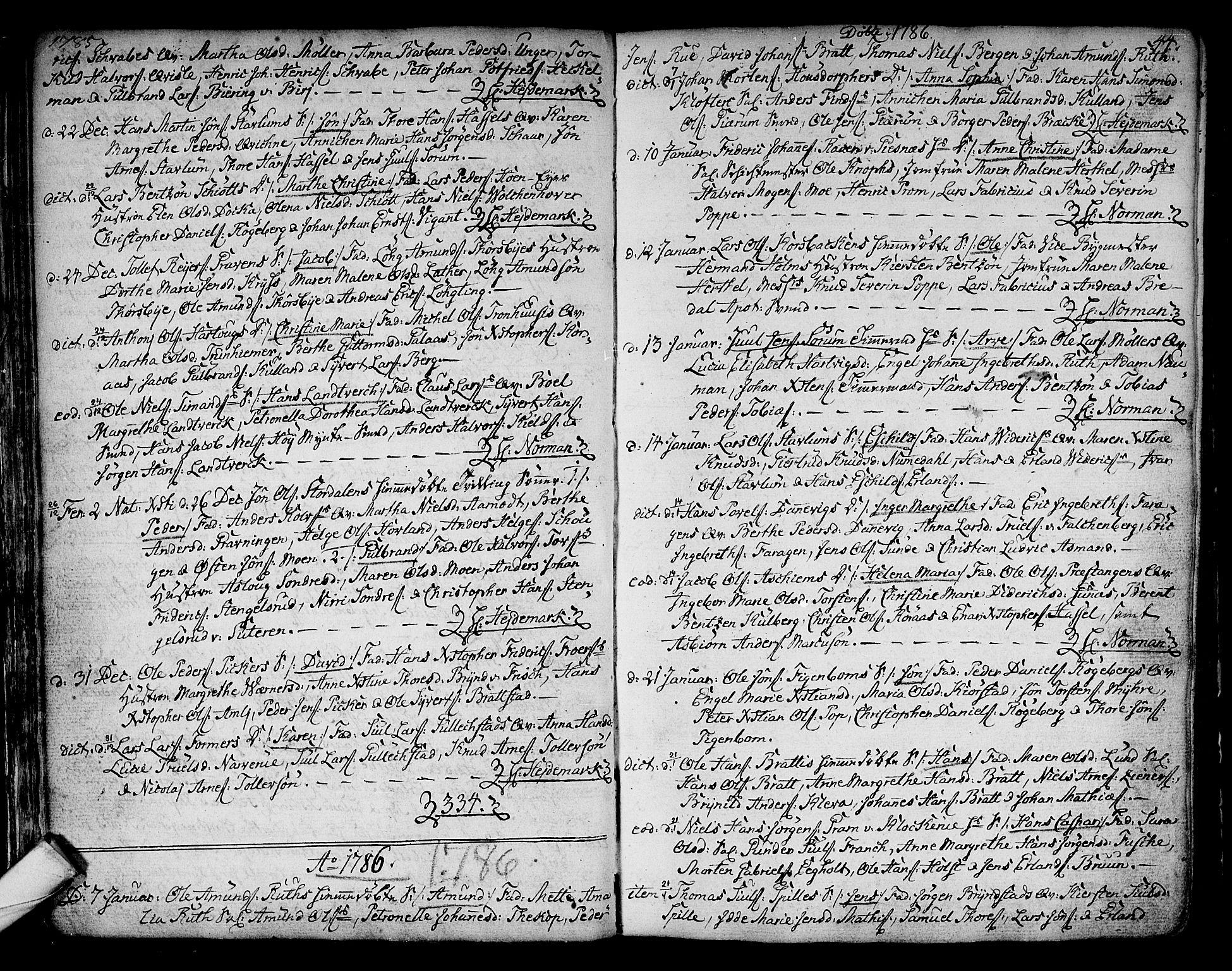 SAKO, Kongsberg kirkebøker, F/Fa/L0006: Ministerialbok nr. I 6, 1783-1797, s. 44
