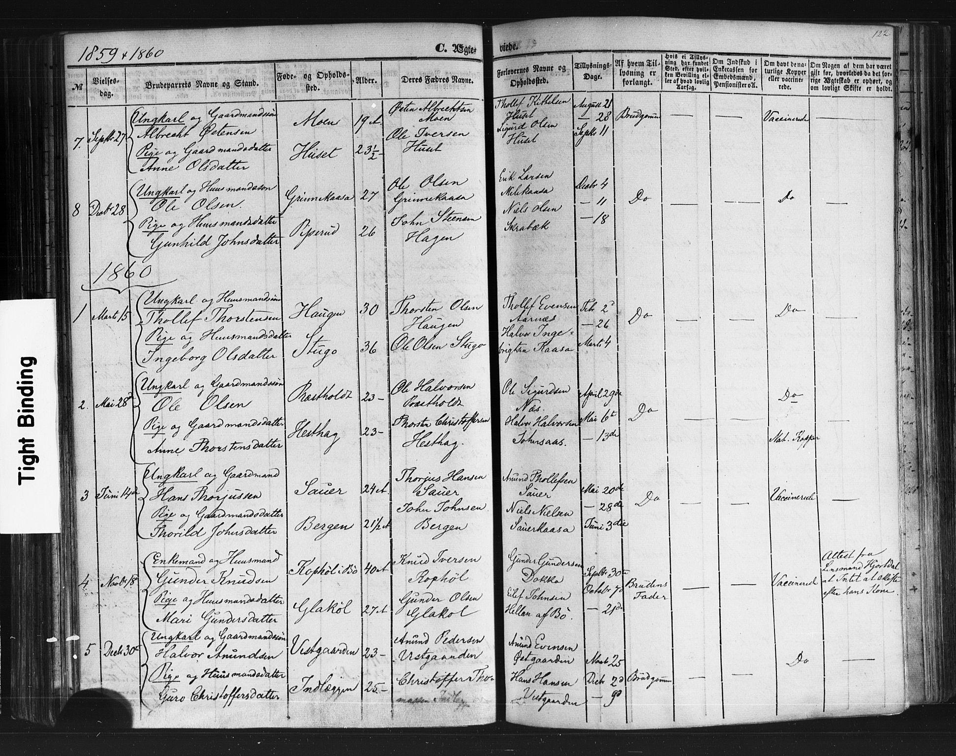 SAKO, Sauherad kirkebøker, F/Fb/L0001: Ministerialbok nr. II 1, 1851-1877, s. 122