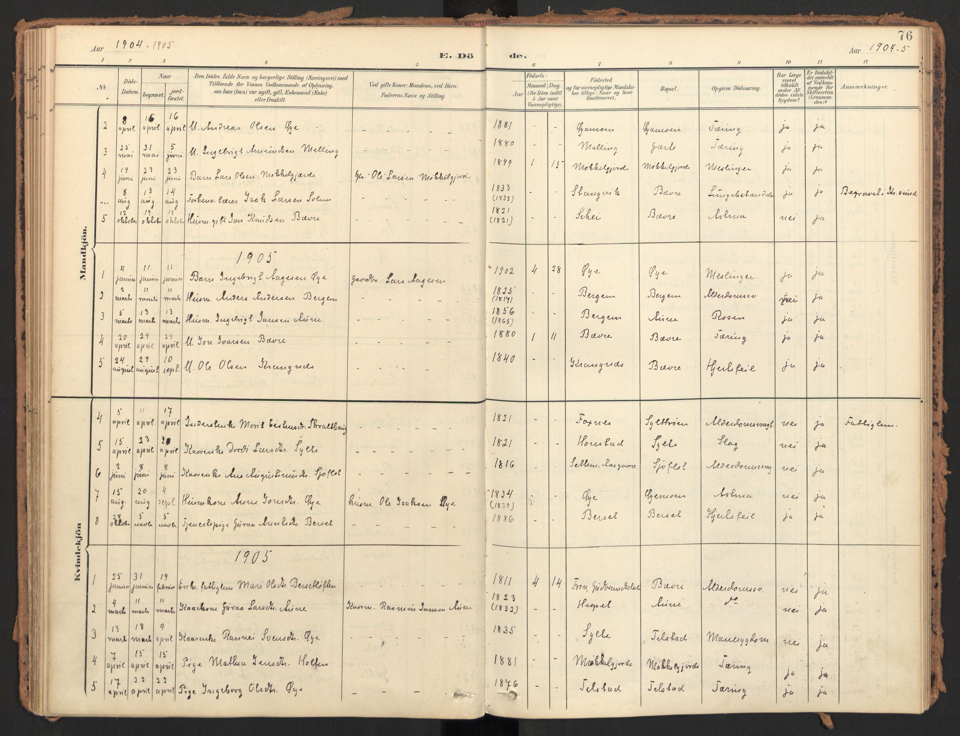 SAT, Ministerialprotokoller, klokkerbøker og fødselsregistre - Møre og Romsdal, 595/L1048: Ministerialbok nr. 595A10, 1900-1917, s. 76