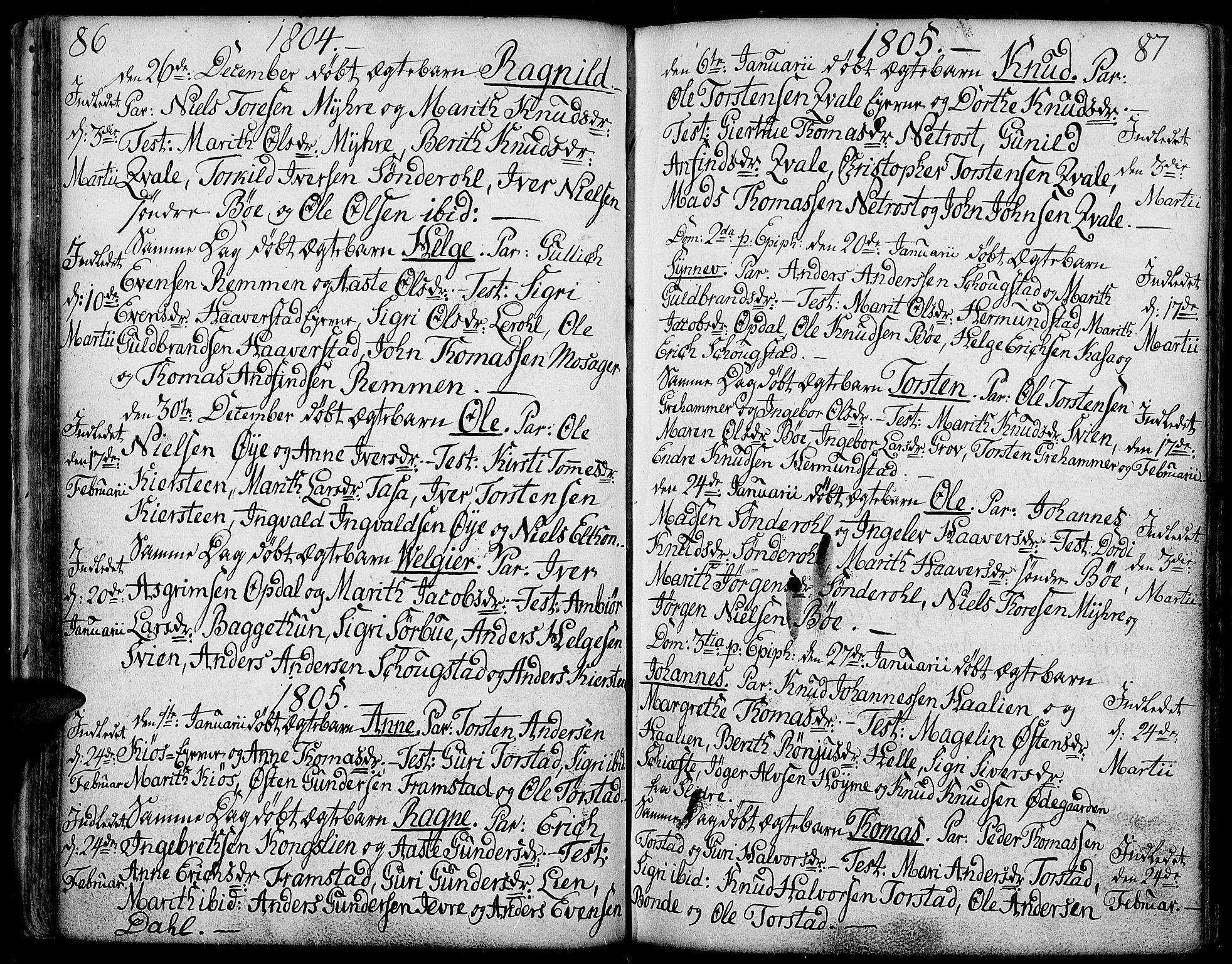 SAH, Vang prestekontor, Valdres, Ministerialbok nr. 2, 1796-1808, s. 86-87