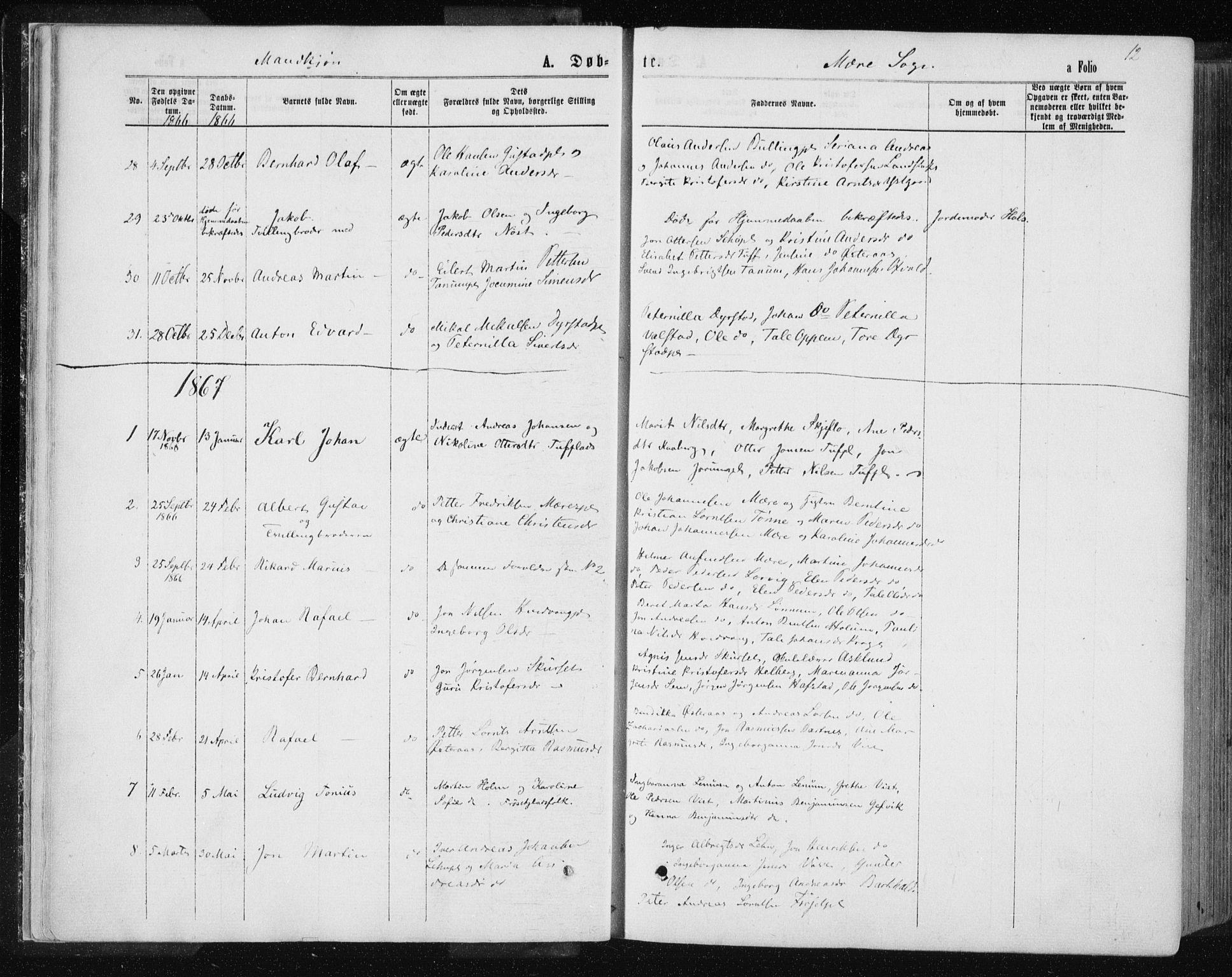 SAT, Ministerialprotokoller, klokkerbøker og fødselsregistre - Nord-Trøndelag, 735/L0345: Ministerialbok nr. 735A08 /1, 1863-1872, s. 12