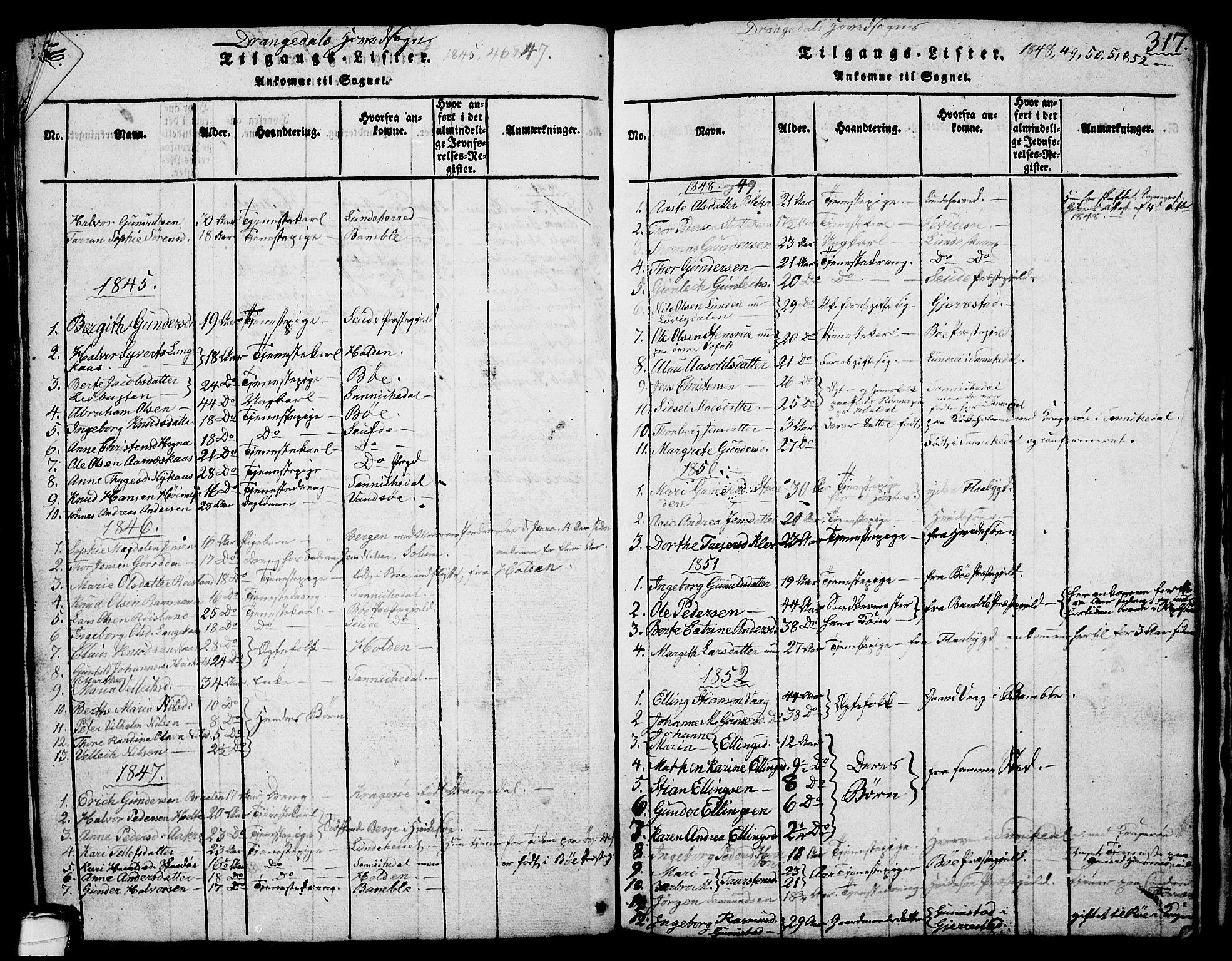 SAKO, Drangedal kirkebøker, G/Ga/L0001: Klokkerbok nr. I 1 /1, 1814-1856, s. 317