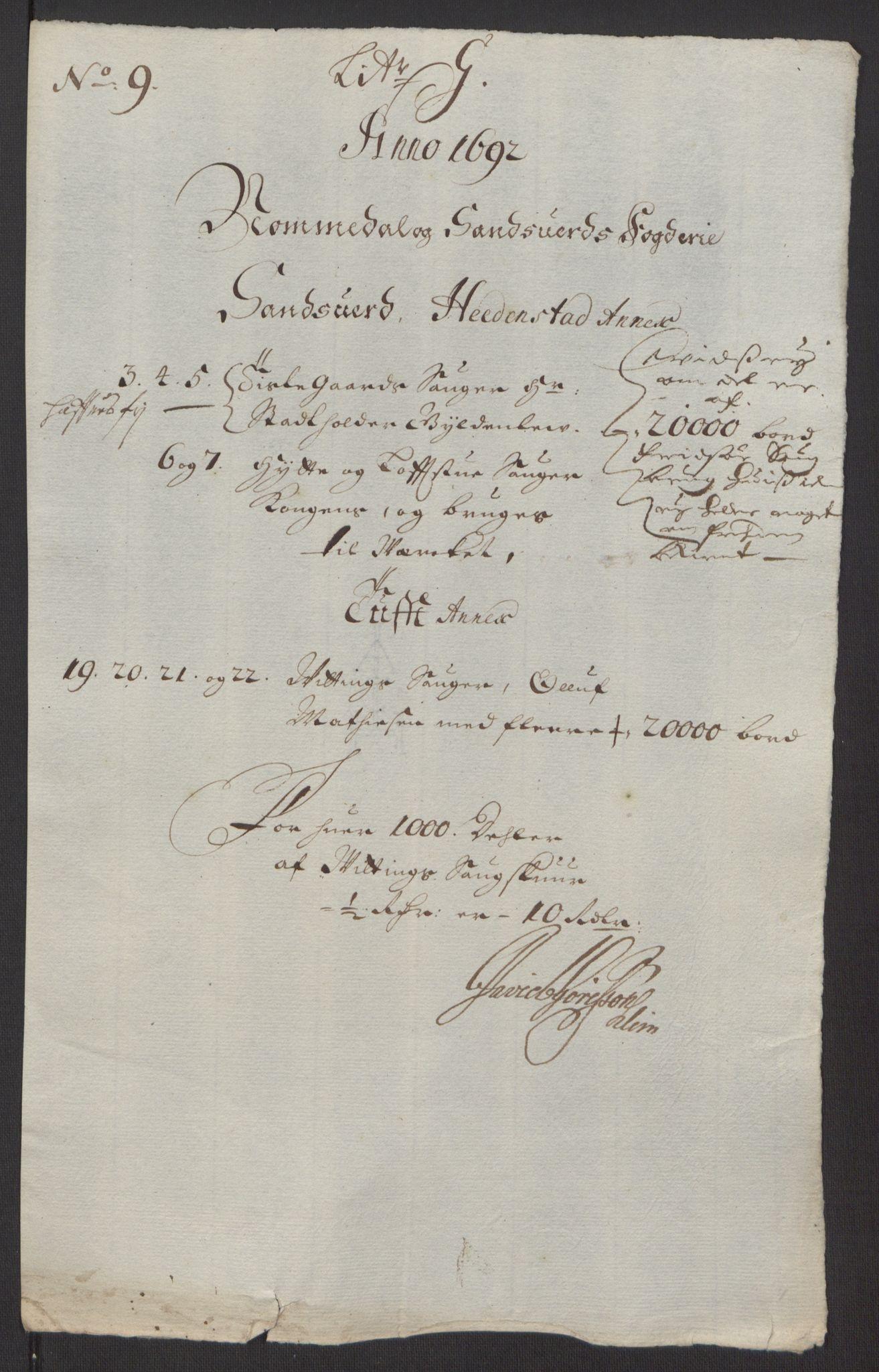 RA, Rentekammeret inntil 1814, Reviderte regnskaper, Fogderegnskap, R24/L1575: Fogderegnskap Numedal og Sandsvær, 1692-1695, s. 99