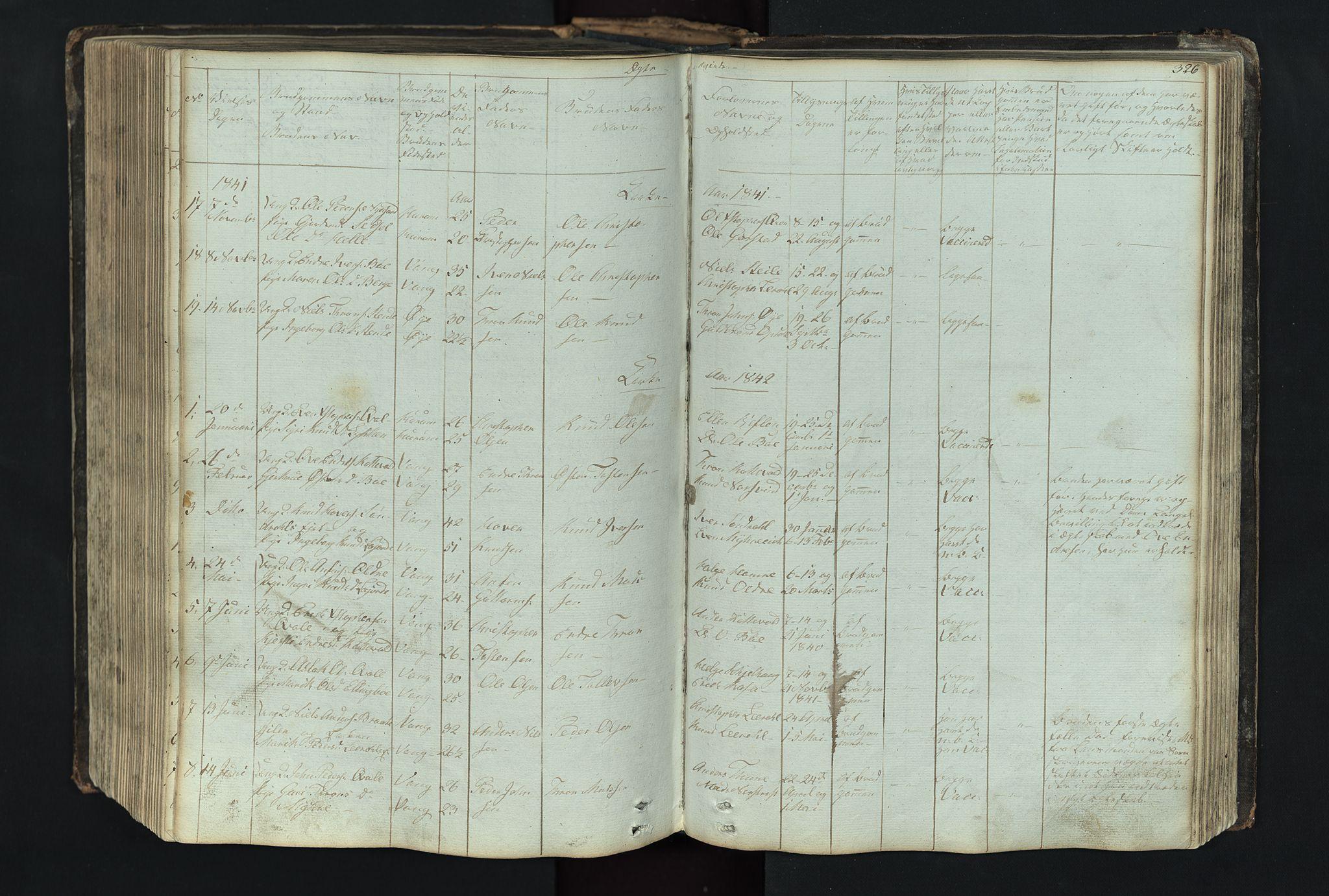 SAH, Vang prestekontor, Valdres, Klokkerbok nr. 4, 1835-1892, s. 326