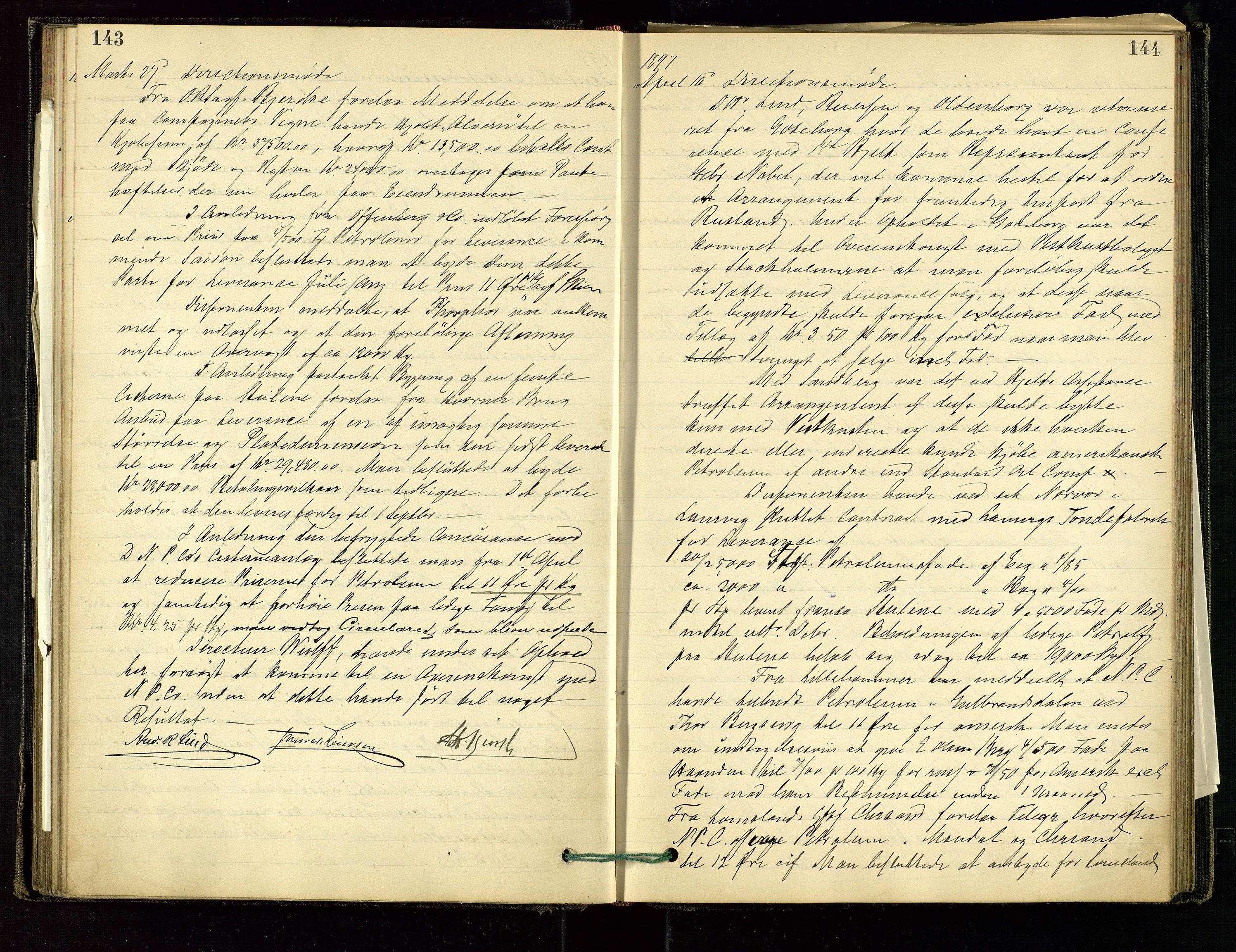 SAST, PA 1534 - Østlandske Petroleumscompagni A/S, A/Aa/L0001: Generalforsamlinger og direksjonsprotokoller., 1892-1905, s. 143-144