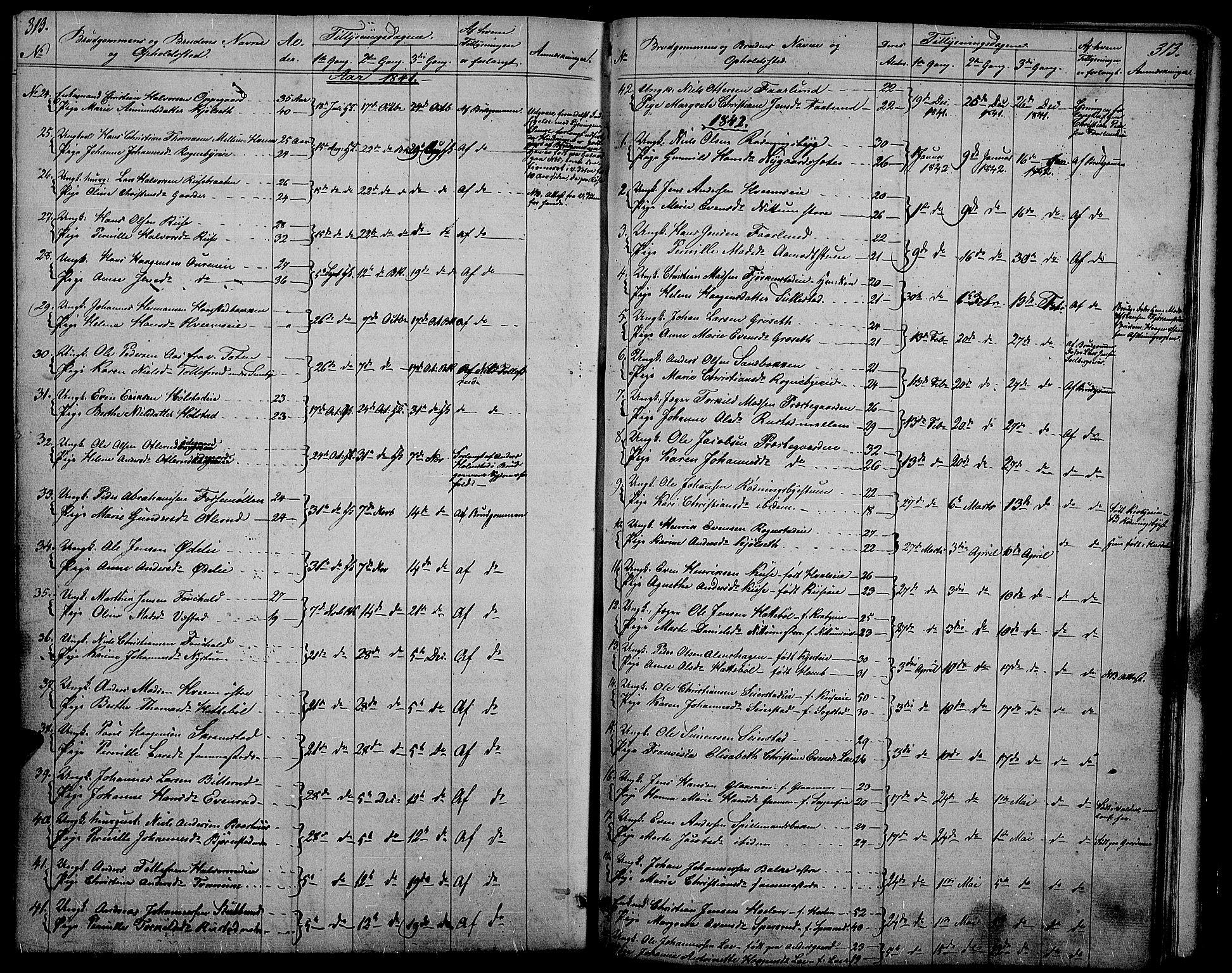 SAH, Østre Toten prestekontor, Klokkerbok nr. 2, 1840-1847, s. 313