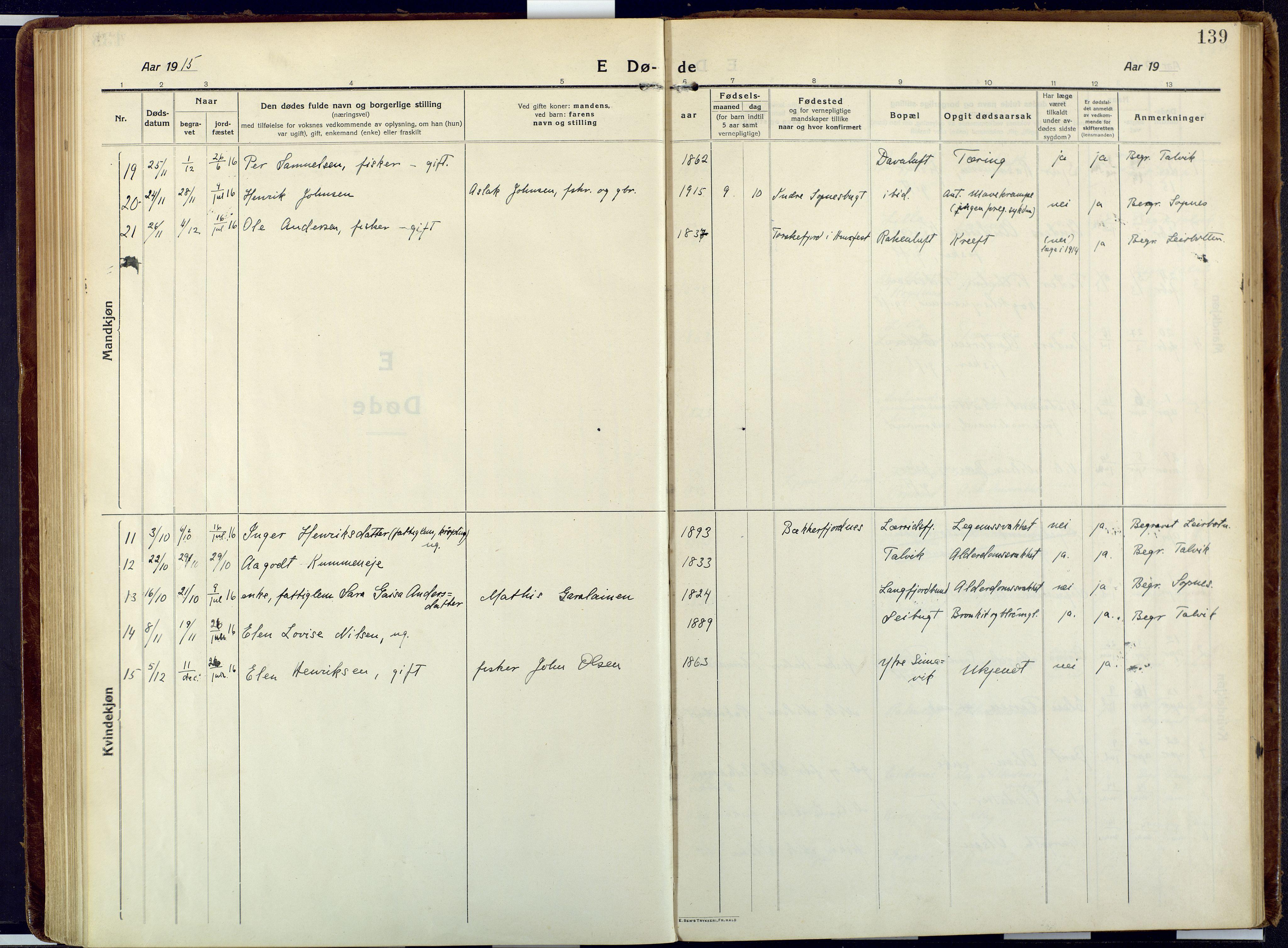 SATØ, Talvik sokneprestkontor, H/Ha/L0018kirke: Ministerialbok nr. 18, 1915-1924, s. 139