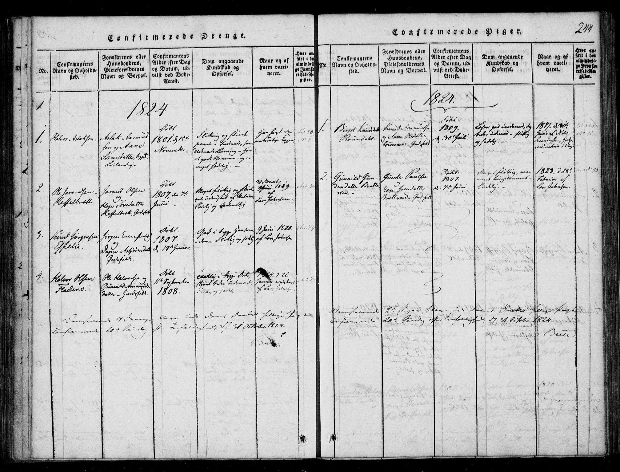 SAKO, Lårdal kirkebøker, F/Fb/L0001: Ministerialbok nr. II 1, 1815-1860, s. 244