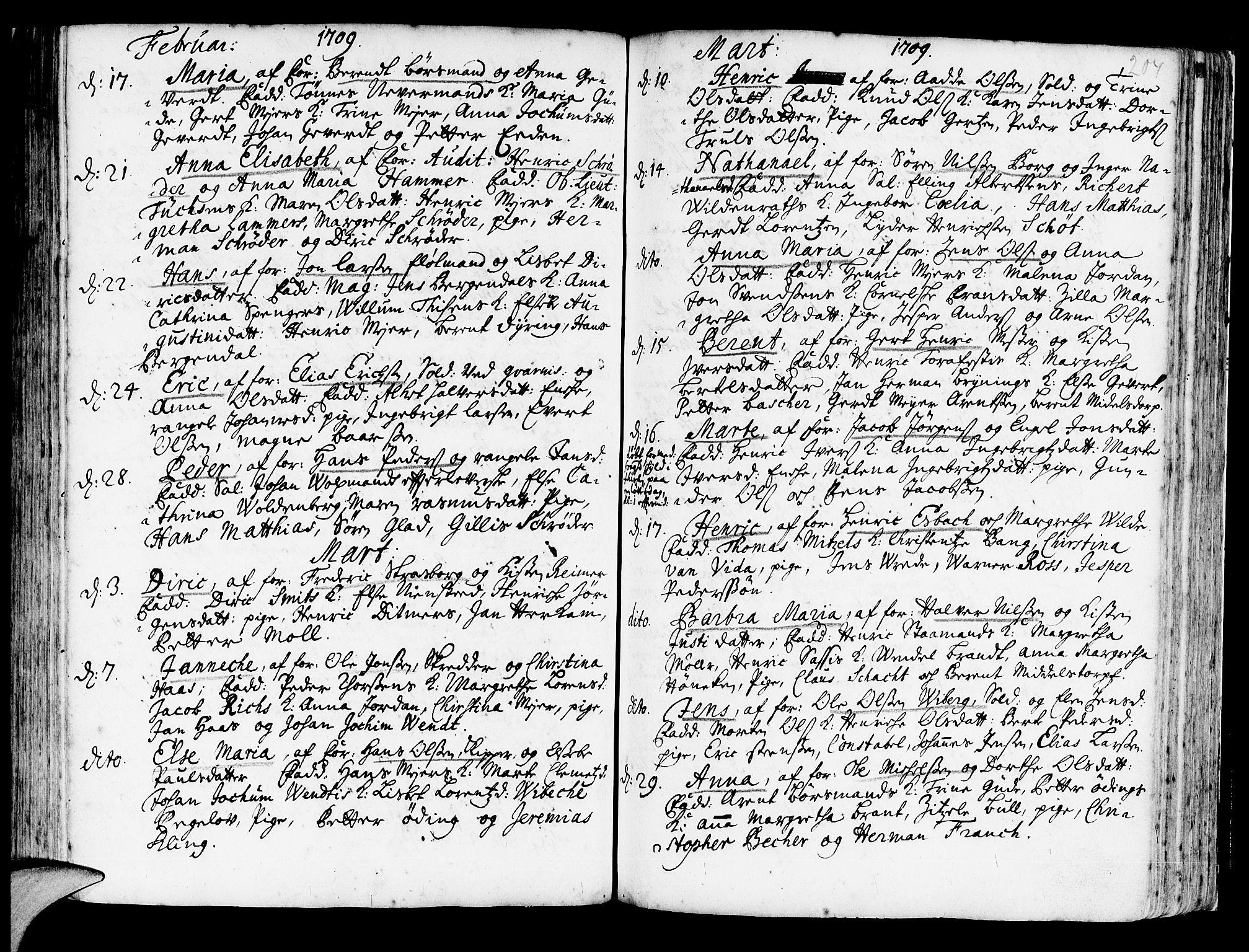 SAB, Korskirken Sokneprestembete, H/Haa/L0003: Ministerialbok nr. A 3, 1698-1719, s. 204