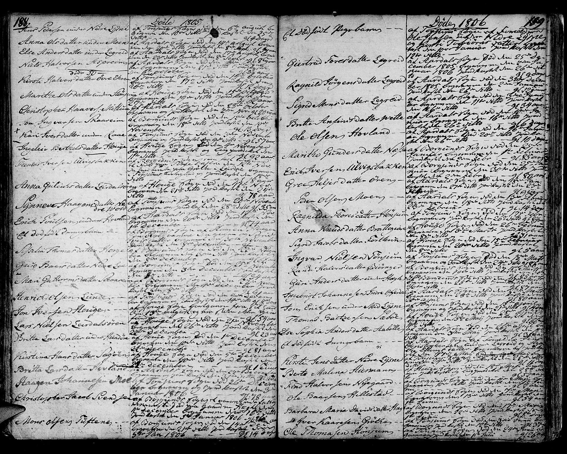 SAB, Lærdal sokneprestembete, Ministerialbok nr. A 4, 1805-1821, s. 188-189