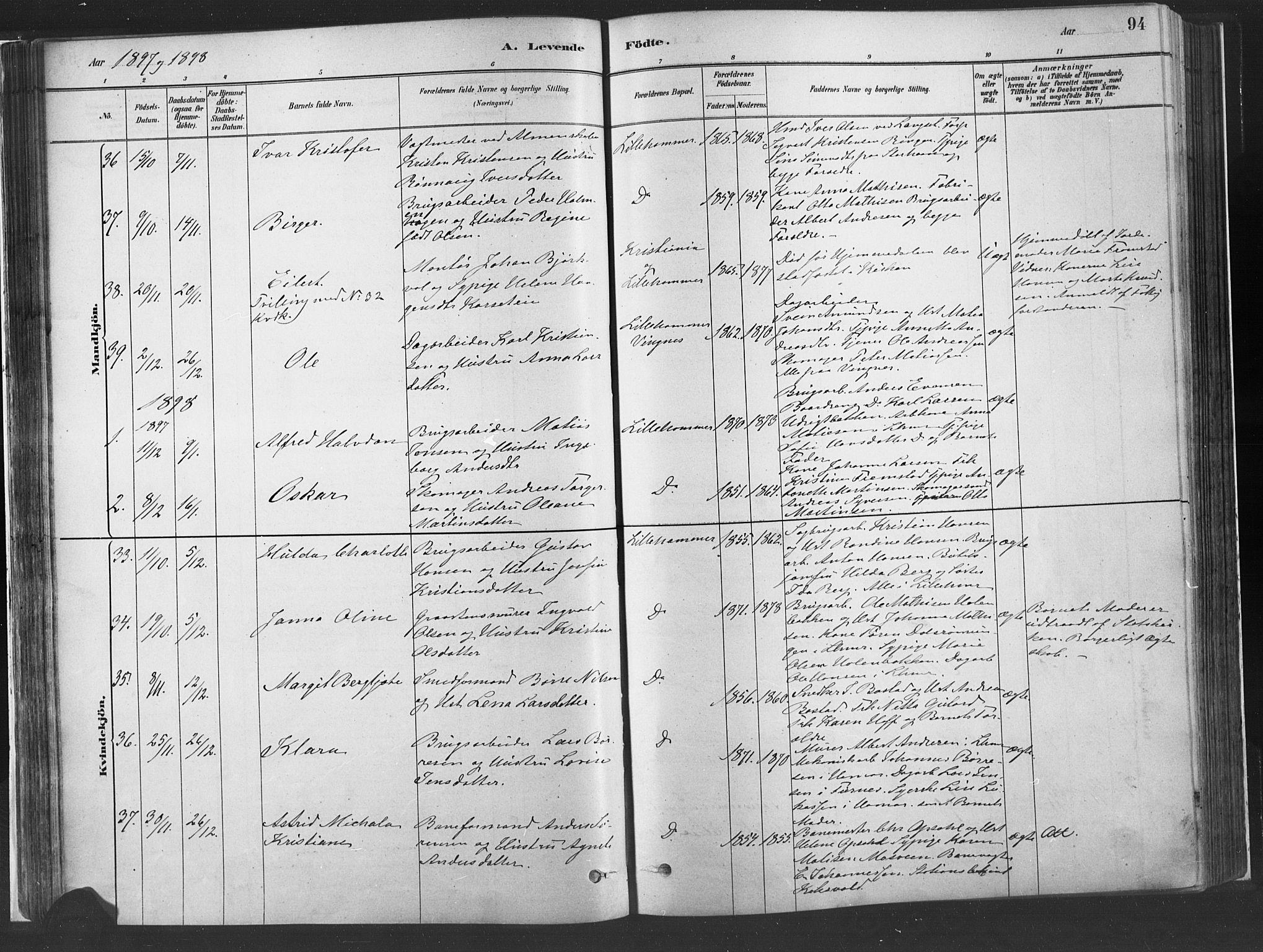SAH, Fåberg prestekontor, Ministerialbok nr. 10, 1879-1900, s. 94