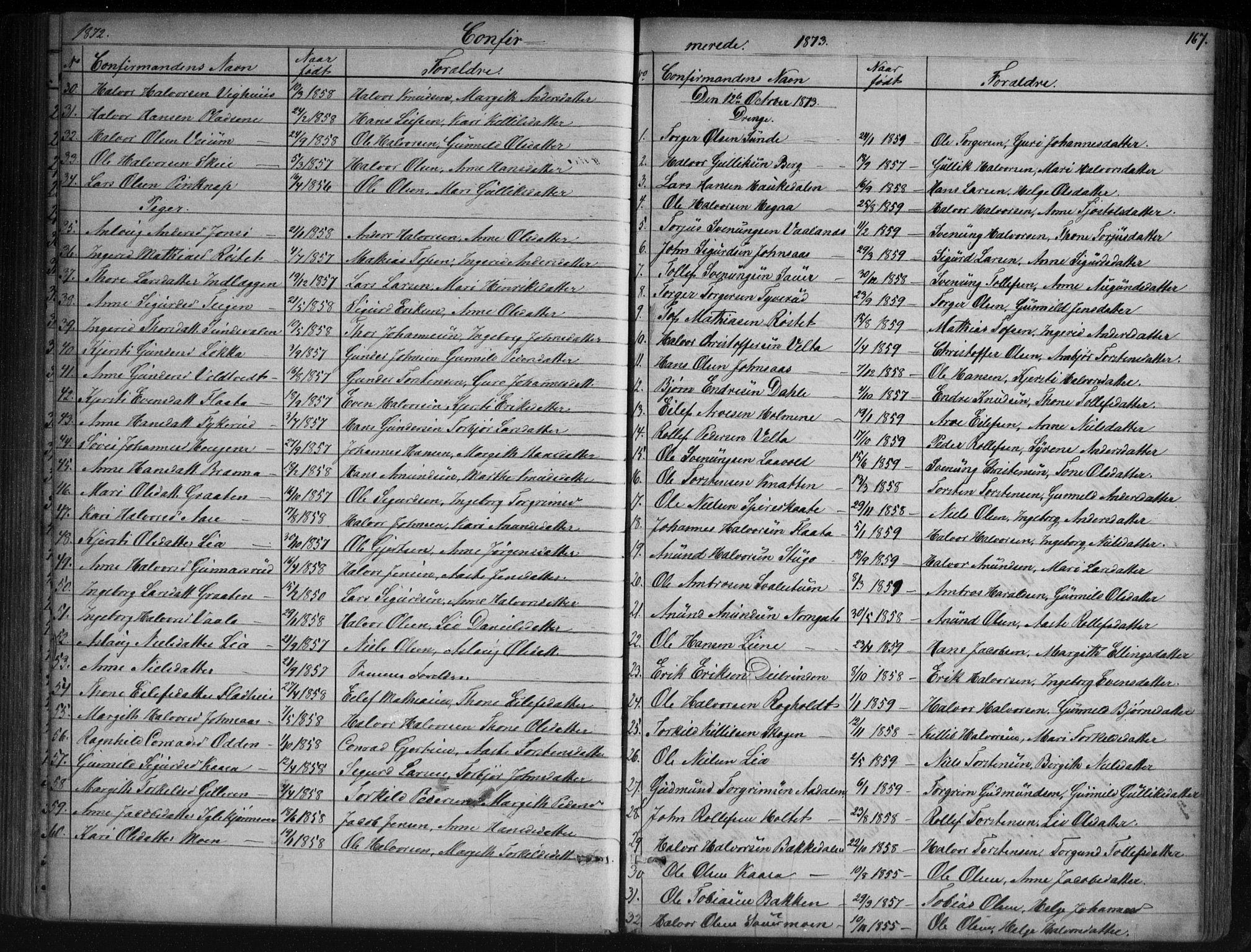 SAKO, Sauherad kirkebøker, G/Ga/L0003: Klokkerbok nr. I 3, 1866-1905, s. 167