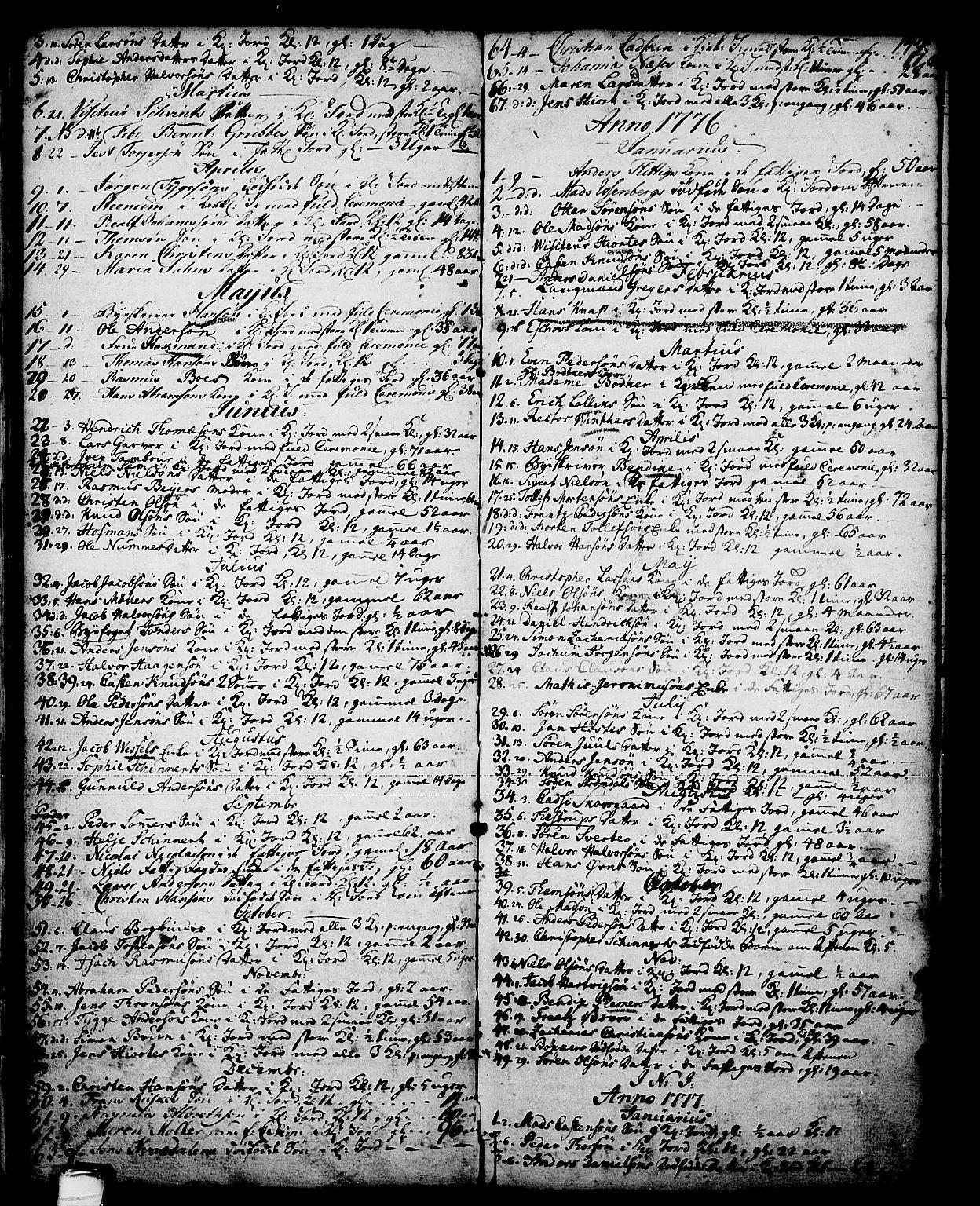 SAKO, Skien kirkebøker, G/Ga/L0001: Klokkerbok nr. 1, 1756-1791, s. 149