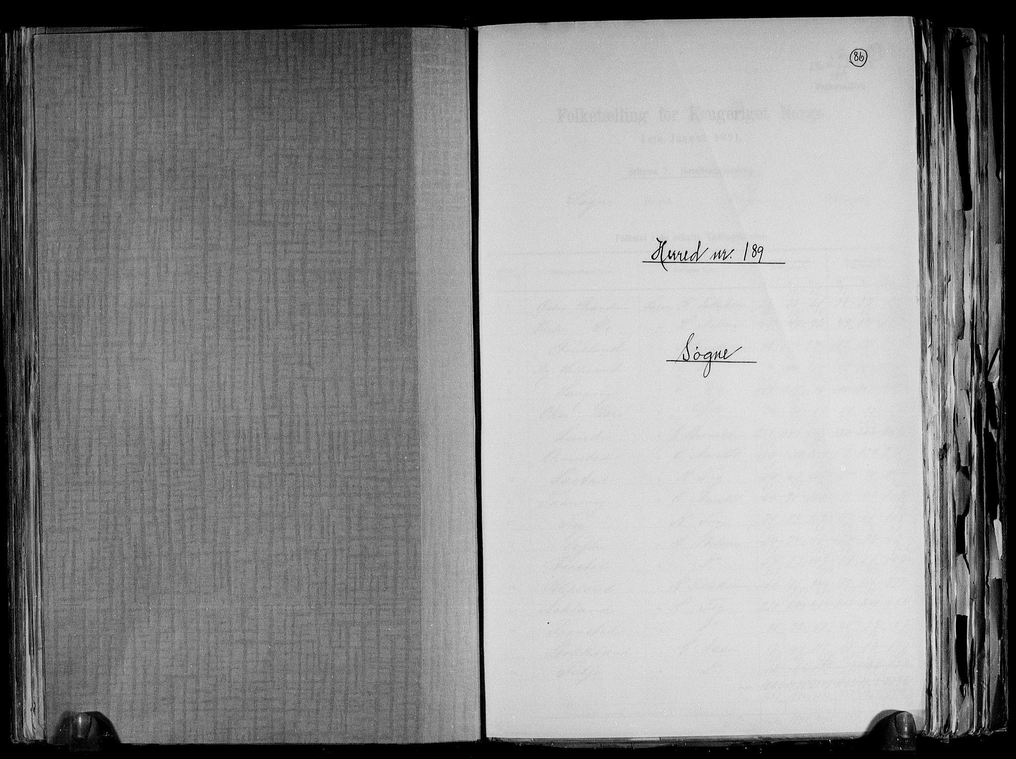 RA, Folketelling 1891 for 1018 Søgne herred, 1891, s. 1
