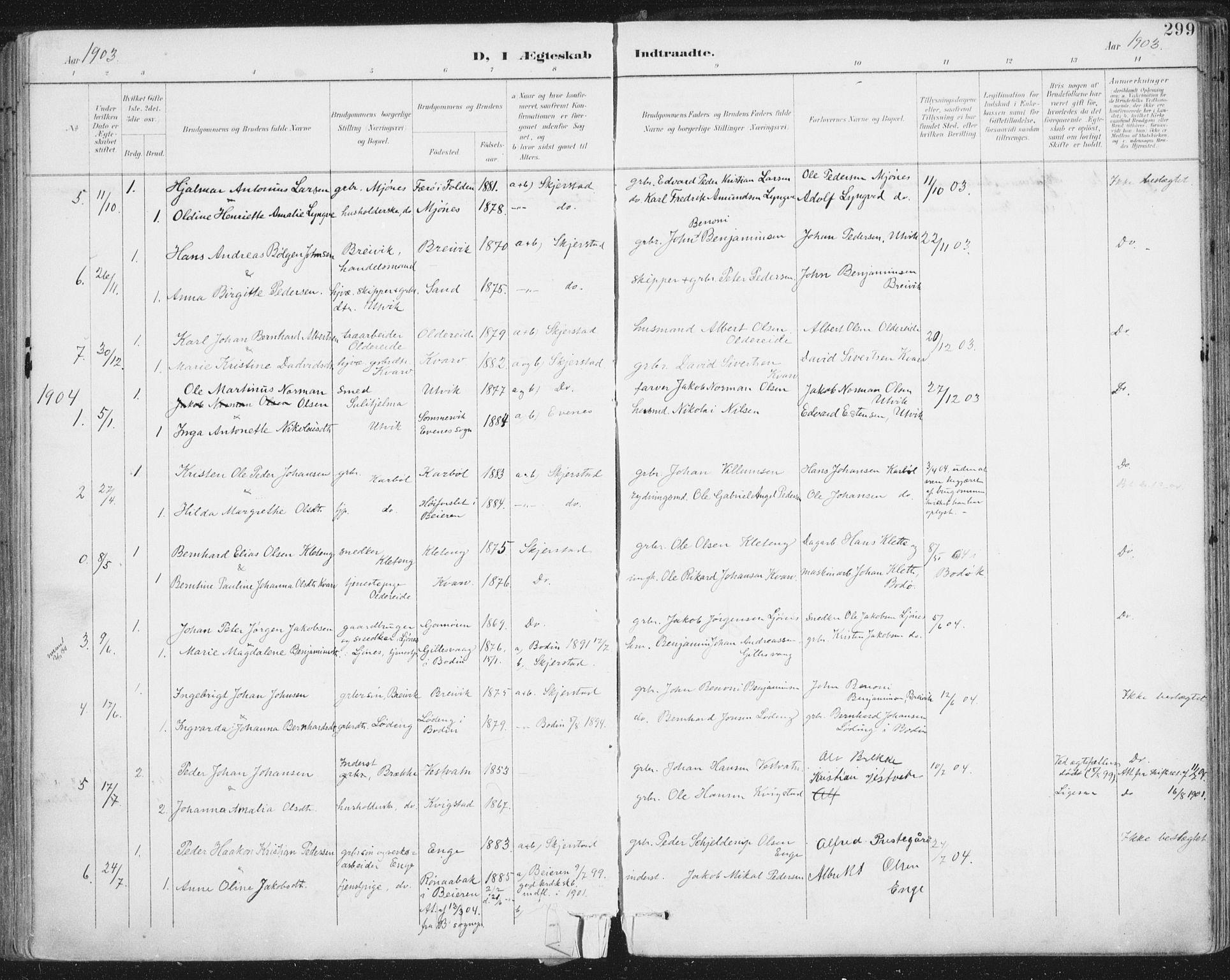 SAT, Ministerialprotokoller, klokkerbøker og fødselsregistre - Nordland, 852/L0741: Ministerialbok nr. 852A11, 1894-1917, s. 299