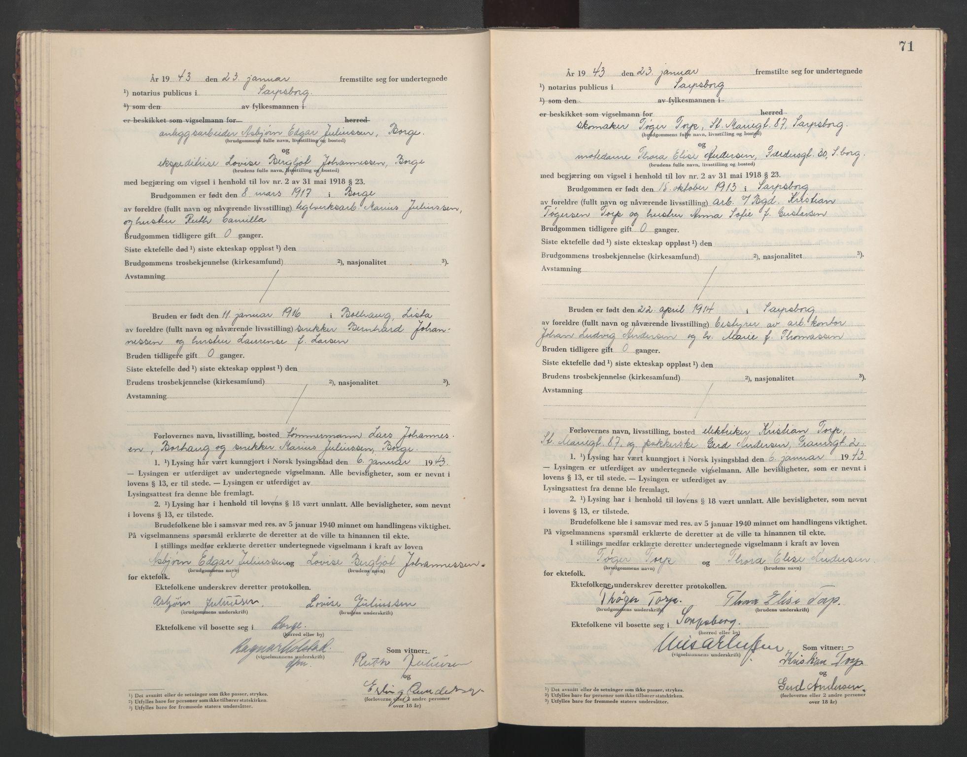 SAO, Sarpsborg byfogd, L/Lb/Lba/L0002: Vigselbok, 1942-1943, s. 71