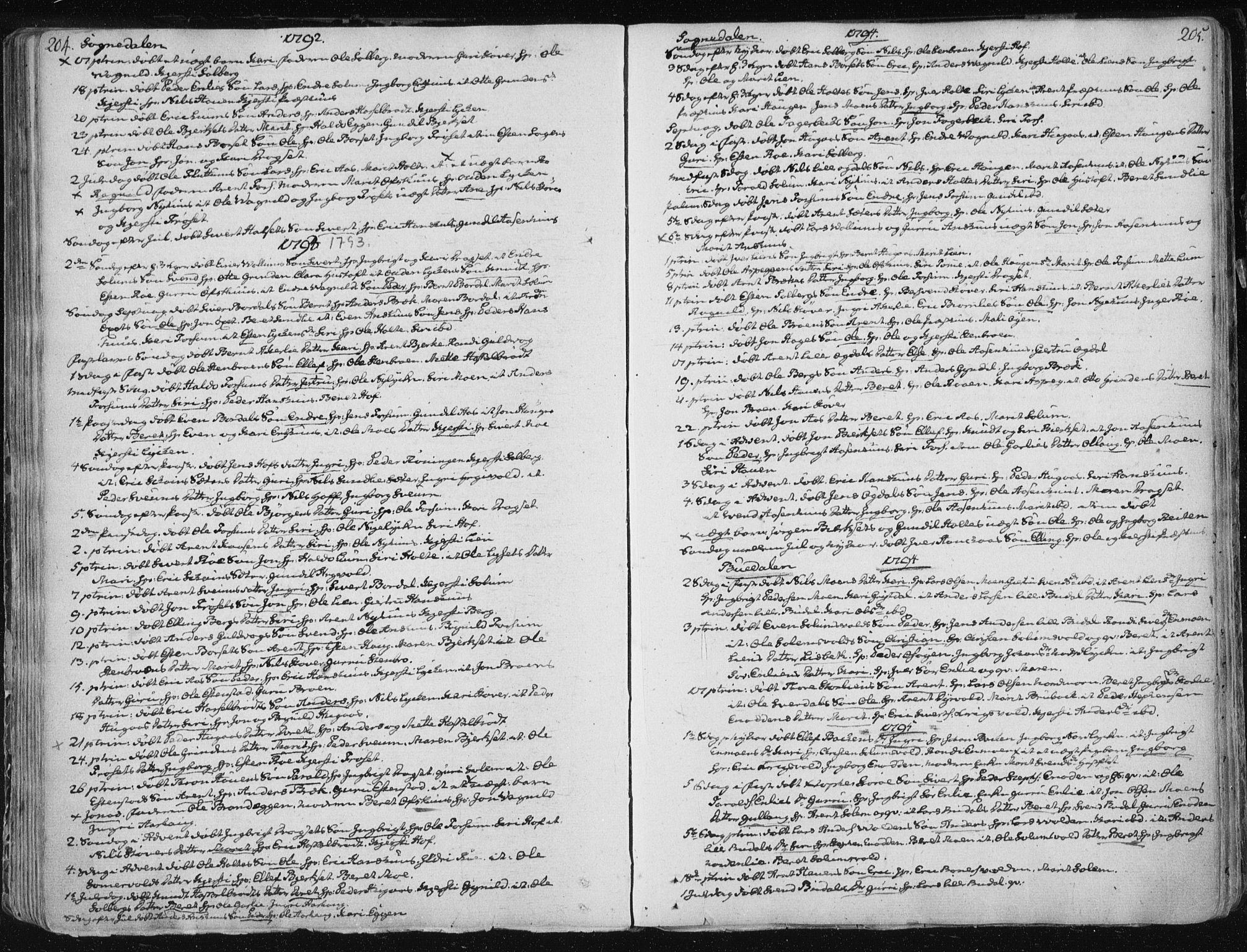 SAT, Ministerialprotokoller, klokkerbøker og fødselsregistre - Sør-Trøndelag, 687/L0992: Ministerialbok nr. 687A03 /1, 1788-1815, s. 204-205
