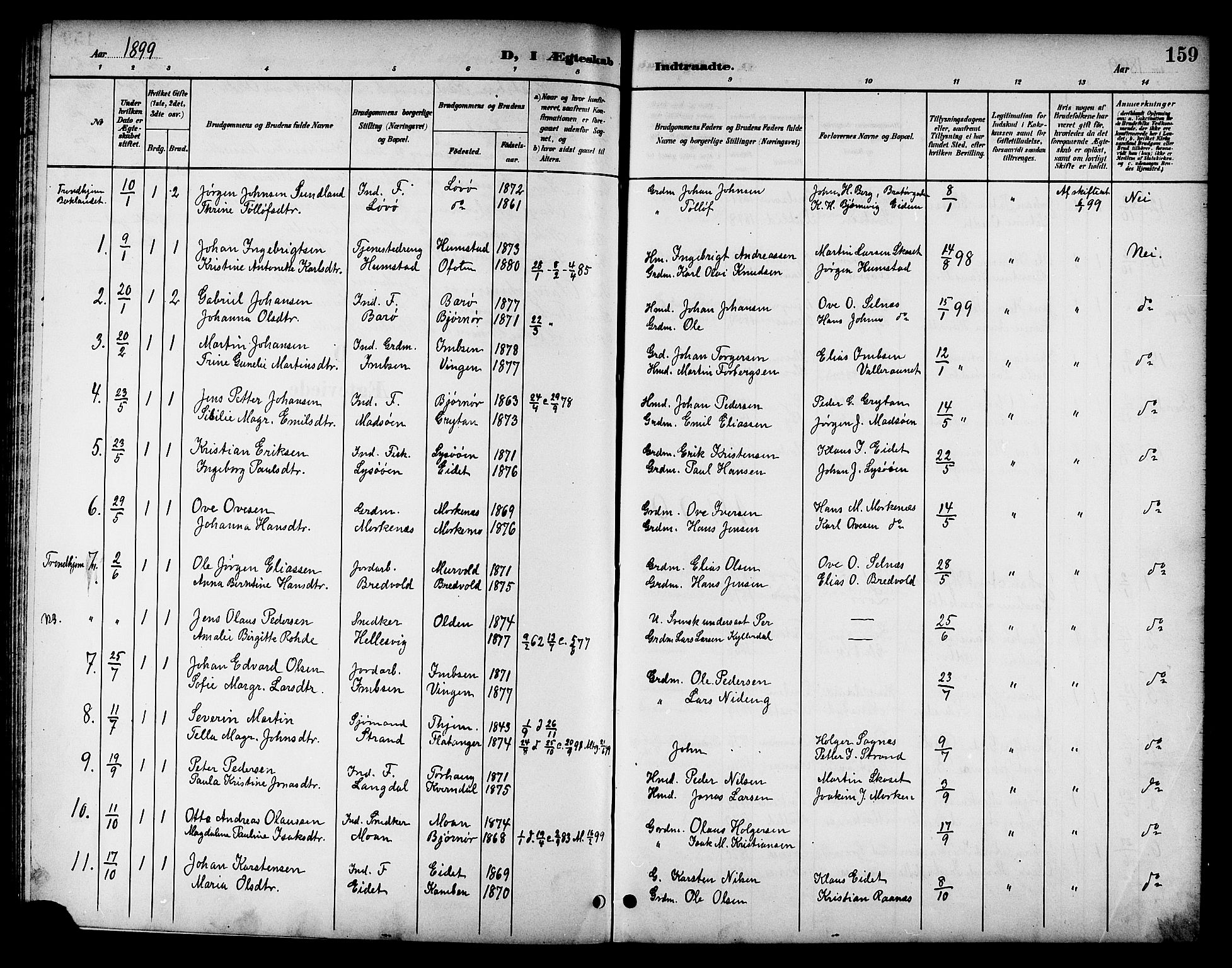 SAT, Ministerialprotokoller, klokkerbøker og fødselsregistre - Sør-Trøndelag, 655/L0688: Klokkerbok nr. 655C04, 1899-1922, s. 159