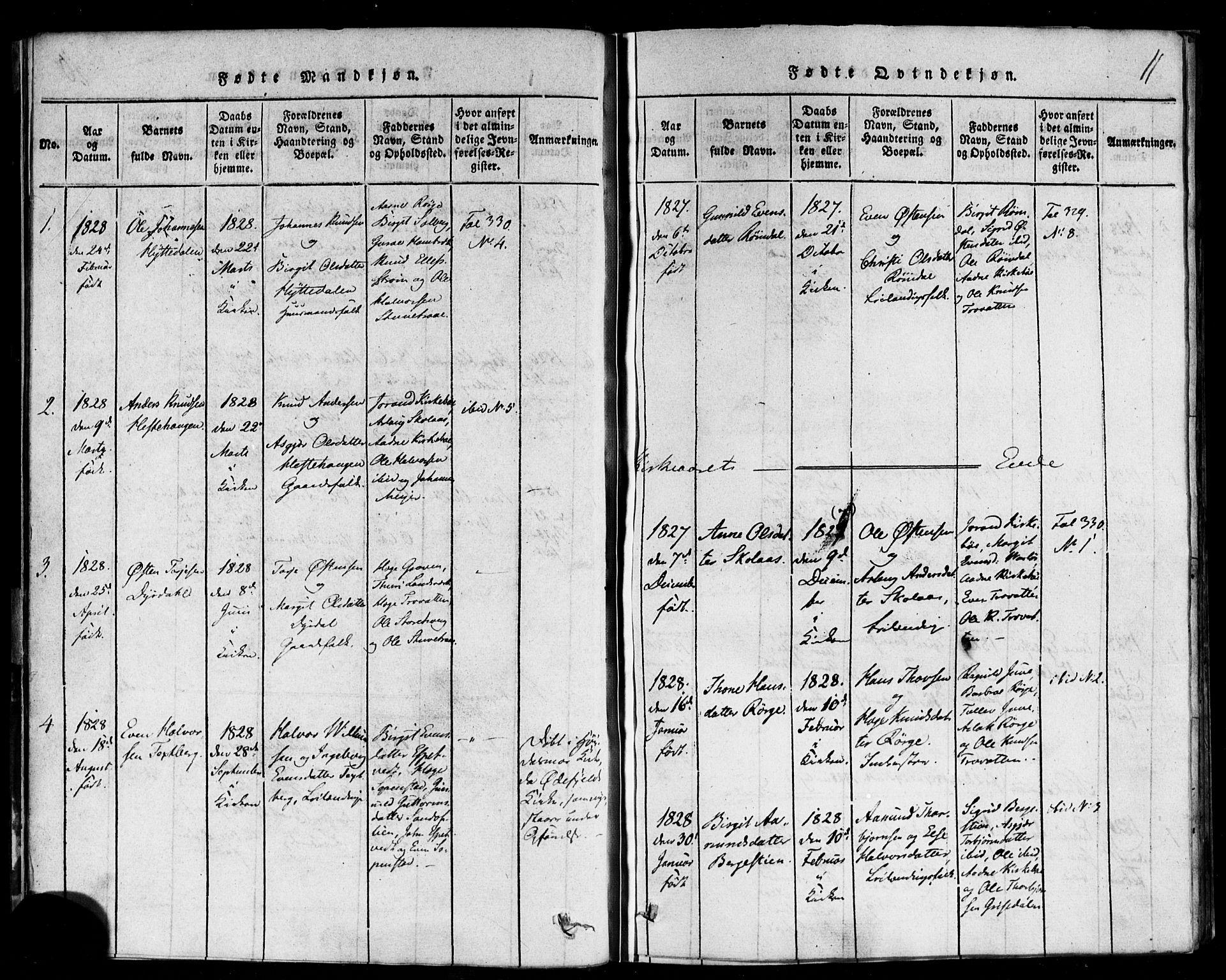 SAKO, Rauland kirkebøker, F/Fa/L0002: Ministerialbok nr. 2, 1815-1860, s. 11