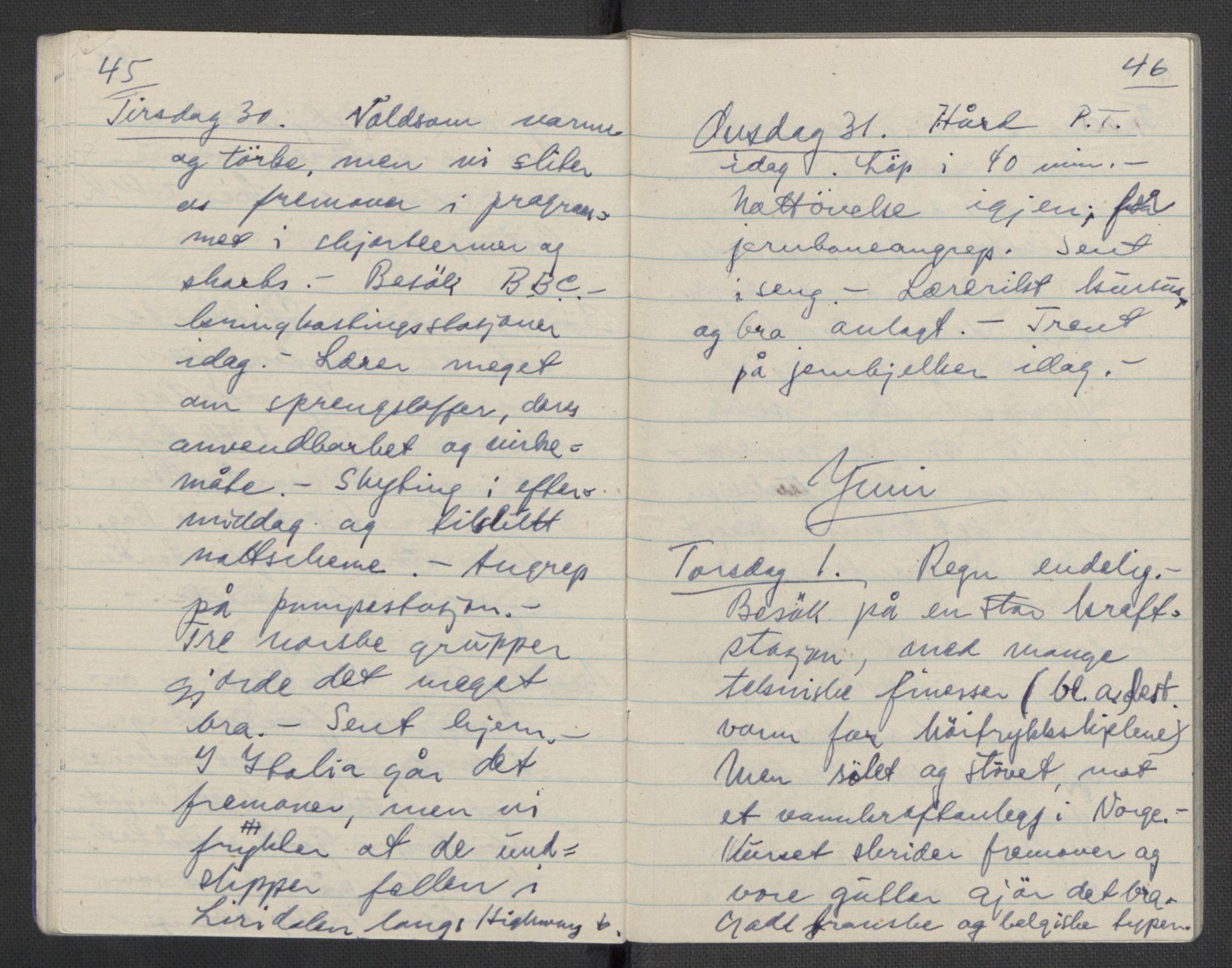 RA, Tronstad, Leif, F/L0001: Dagbøker, 1941-1945, s. 704