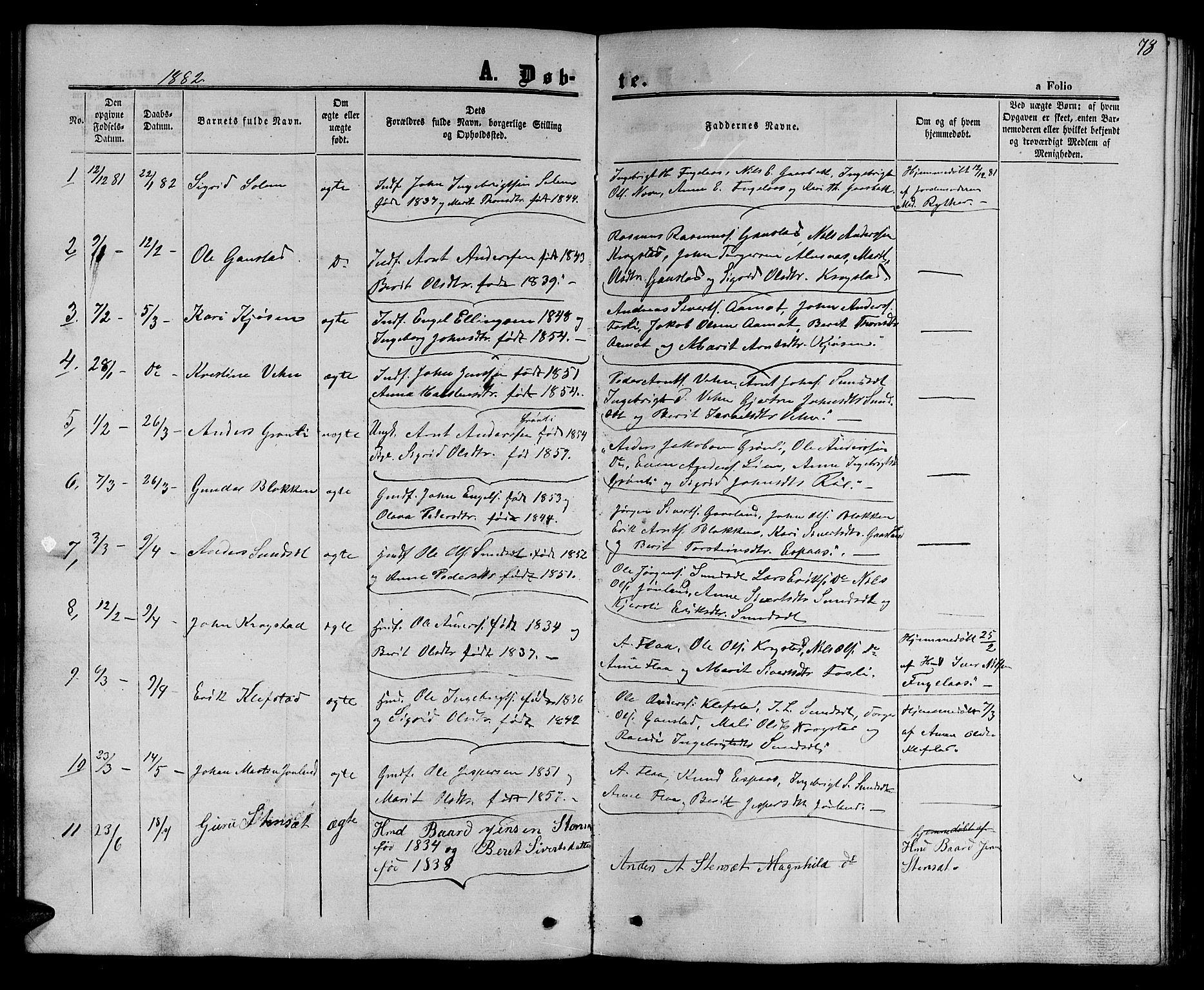 SAT, Ministerialprotokoller, klokkerbøker og fødselsregistre - Sør-Trøndelag, 694/L1131: Klokkerbok nr. 694C03, 1858-1886, s. 78