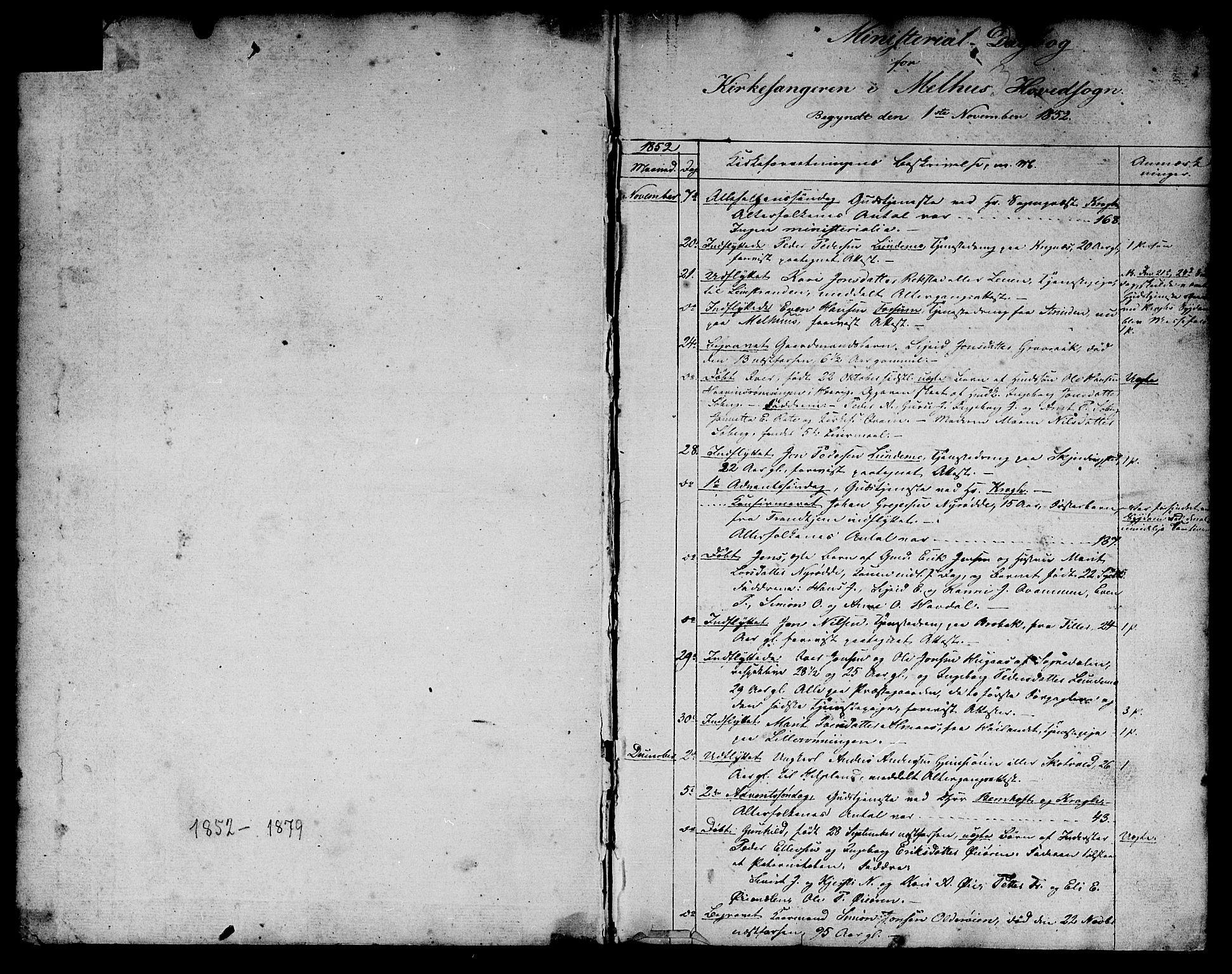 SAT, Ministerialprotokoller, klokkerbøker og fødselsregistre - Sør-Trøndelag, 691/L1093: Klokkerbok nr. 691C04, 1852-1879, s. 1