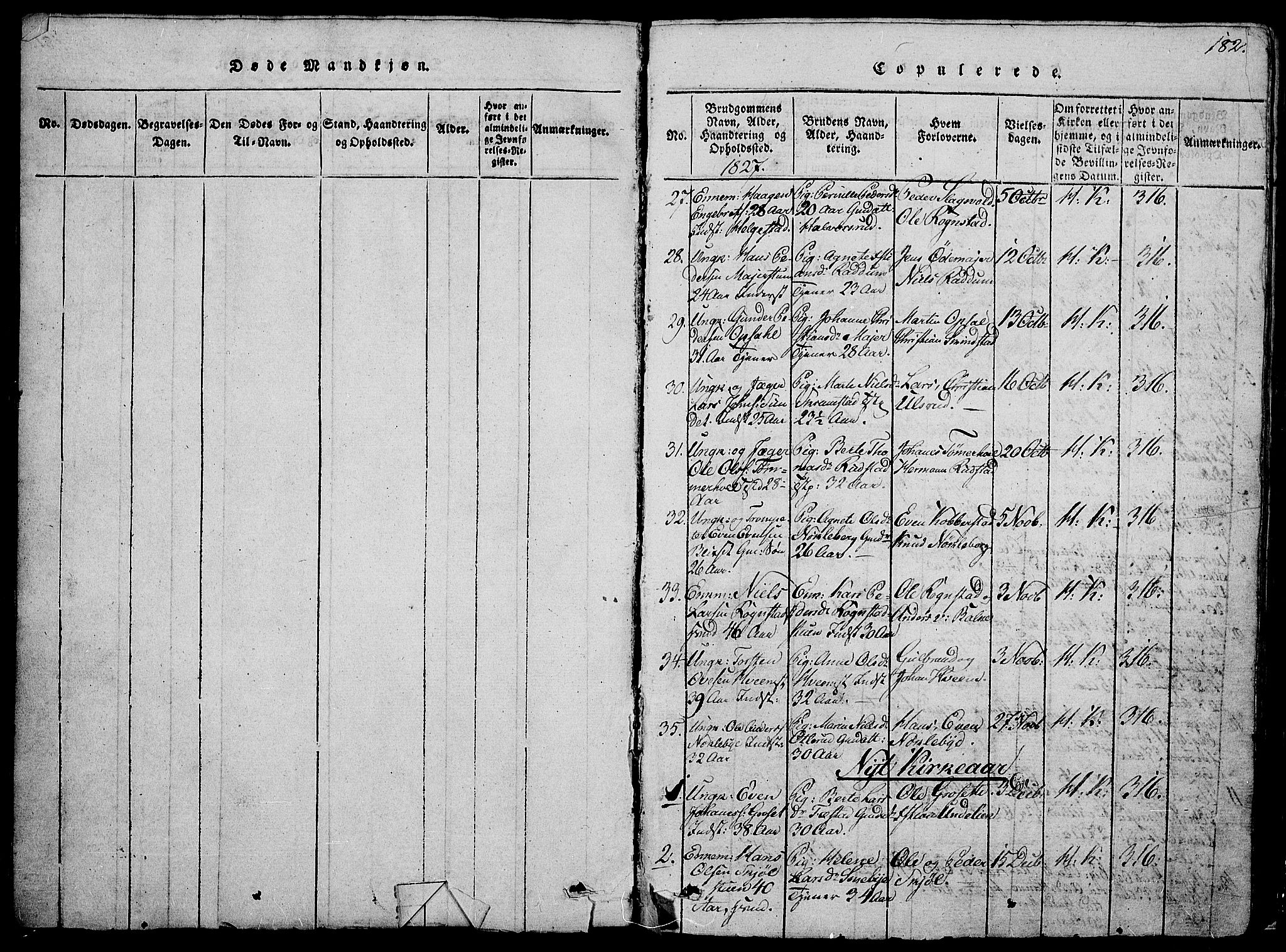 SAH, Østre Toten prestekontor, Klokkerbok nr. 1, 1827-1839, s. 182