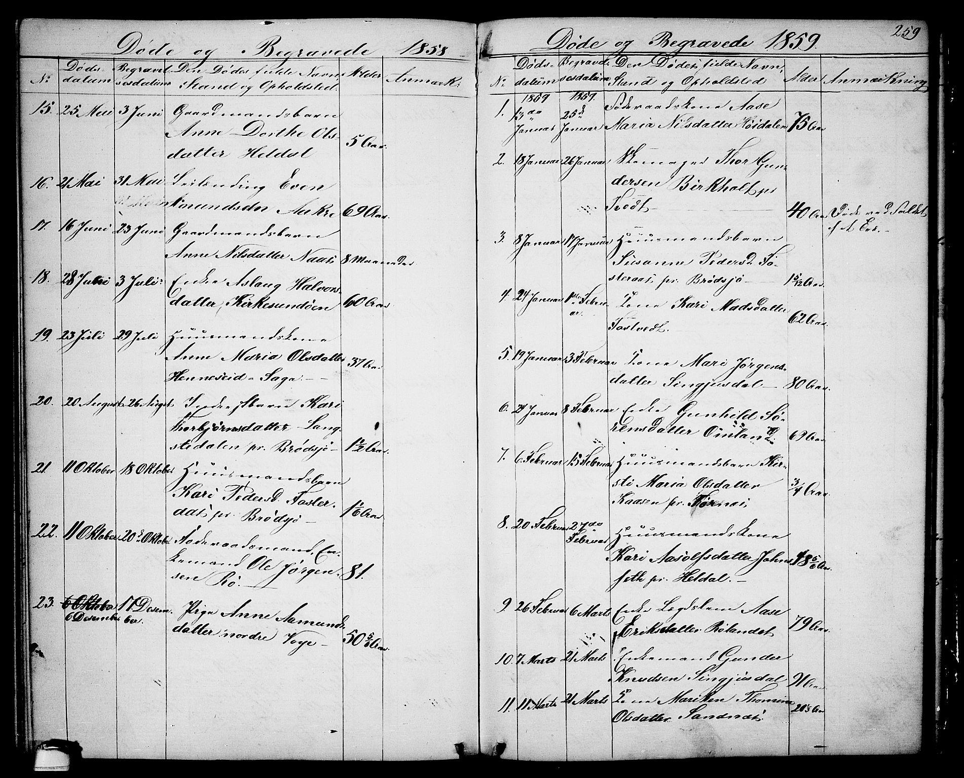 SAKO, Drangedal kirkebøker, G/Ga/L0002: Klokkerbok nr. I 2, 1856-1887, s. 259