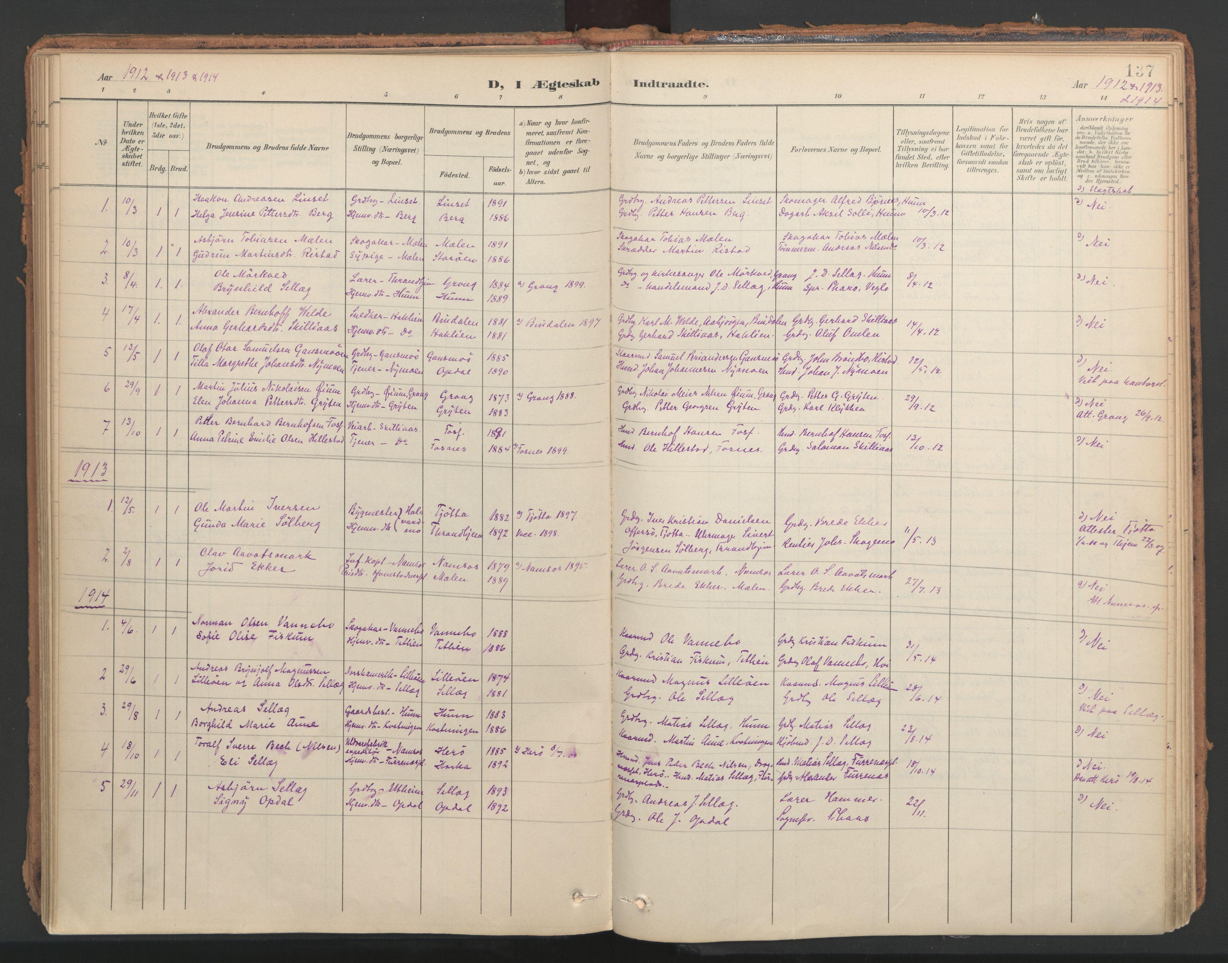SAT, Ministerialprotokoller, klokkerbøker og fødselsregistre - Nord-Trøndelag, 766/L0564: Ministerialbok nr. 767A02, 1900-1932, s. 137