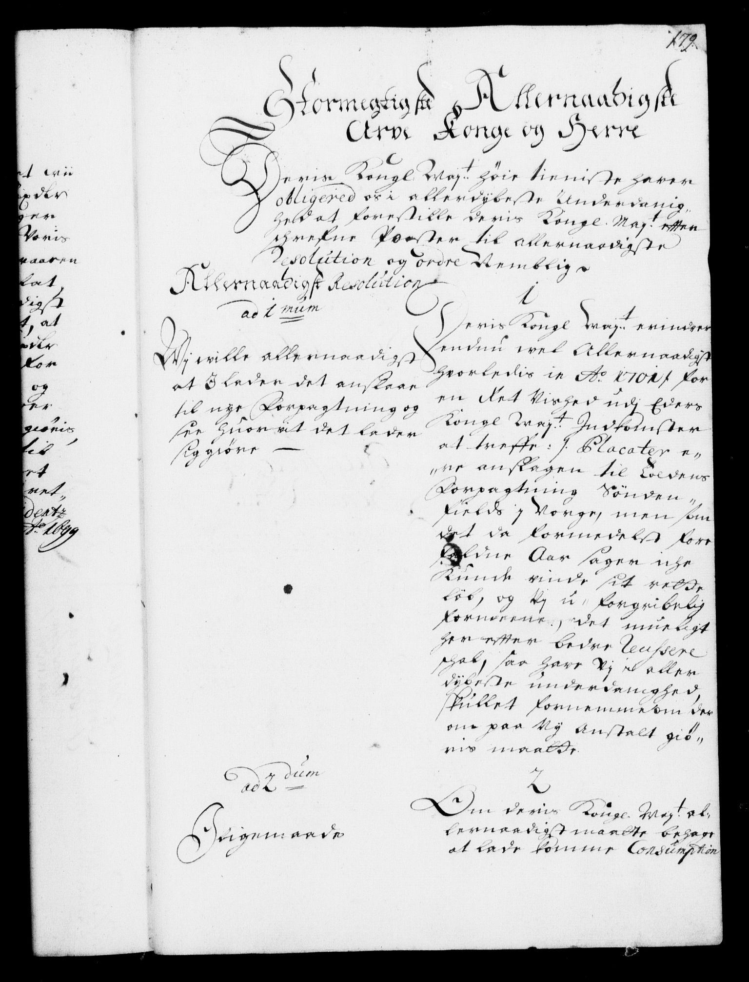 RA, Rentekammeret, Kammerkanselliet, G/Gf/Gfa/L0001: Resolusjonsprotokoll med register (merket RK 52.1), 1695-1706, s. 179