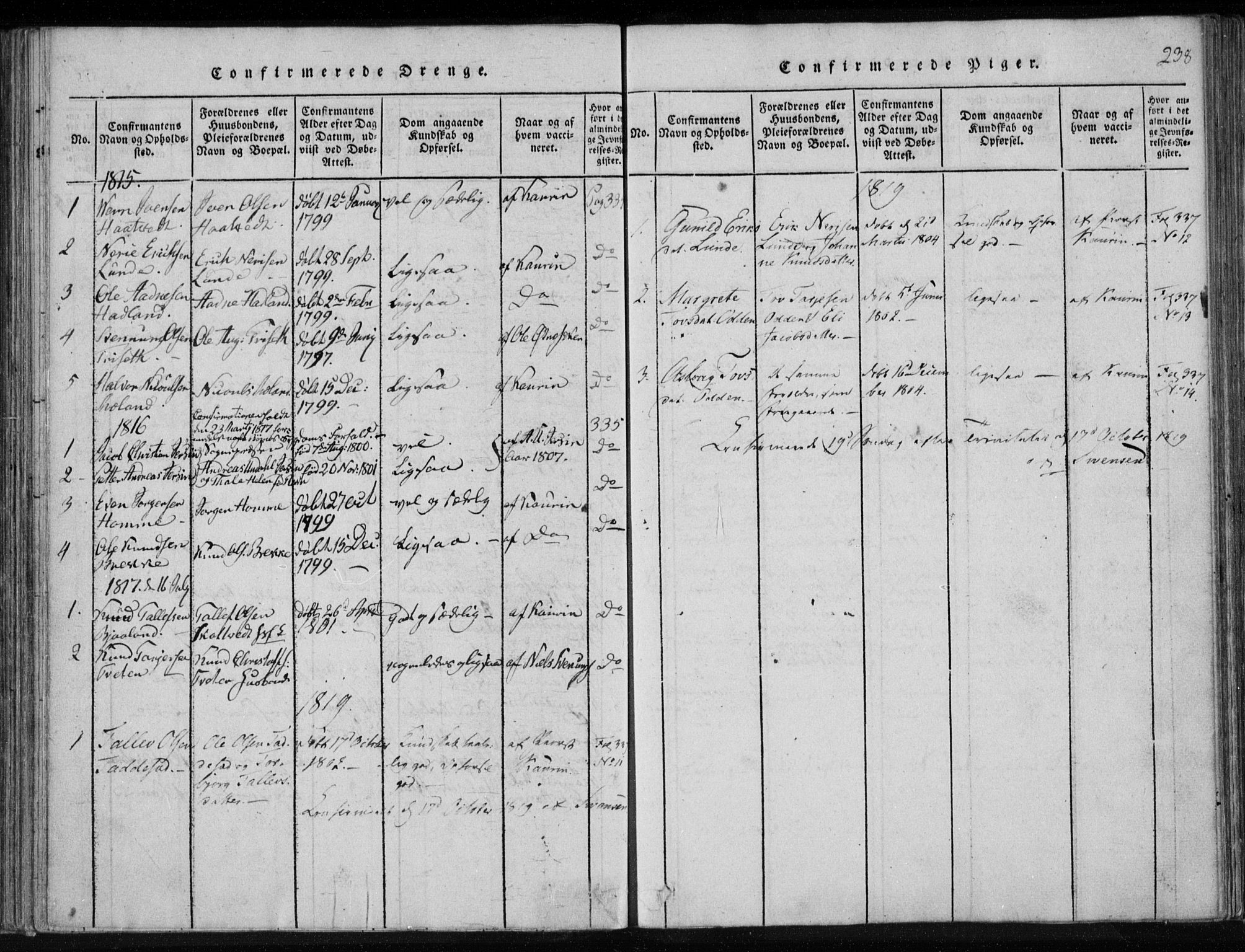 SAKO, Lårdal kirkebøker, F/Fa/L0005: Ministerialbok nr. I 5, 1815-1860, s. 238