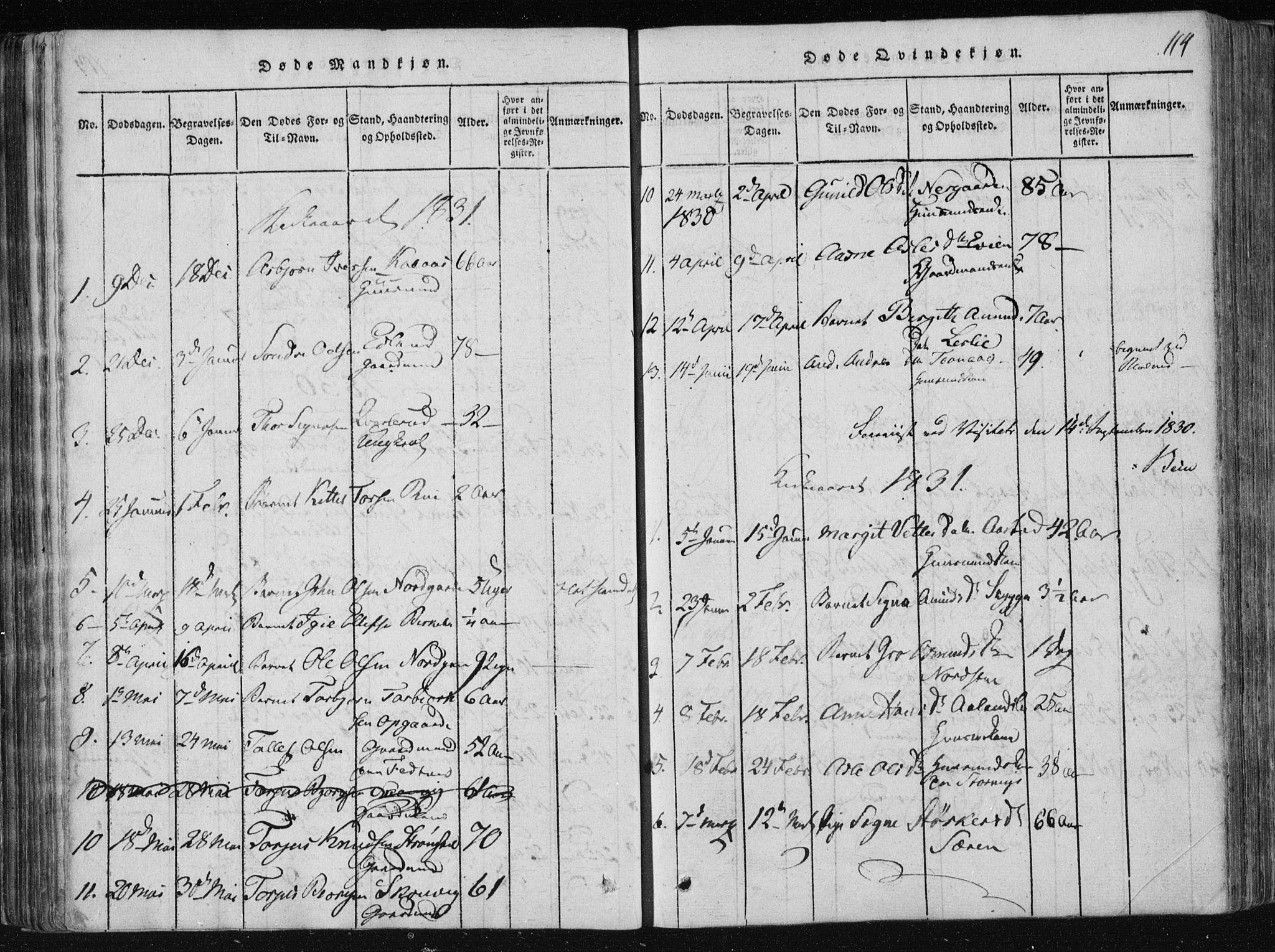SAKO, Vinje kirkebøker, F/Fa/L0003: Ministerialbok nr. I 3, 1814-1843, s. 114