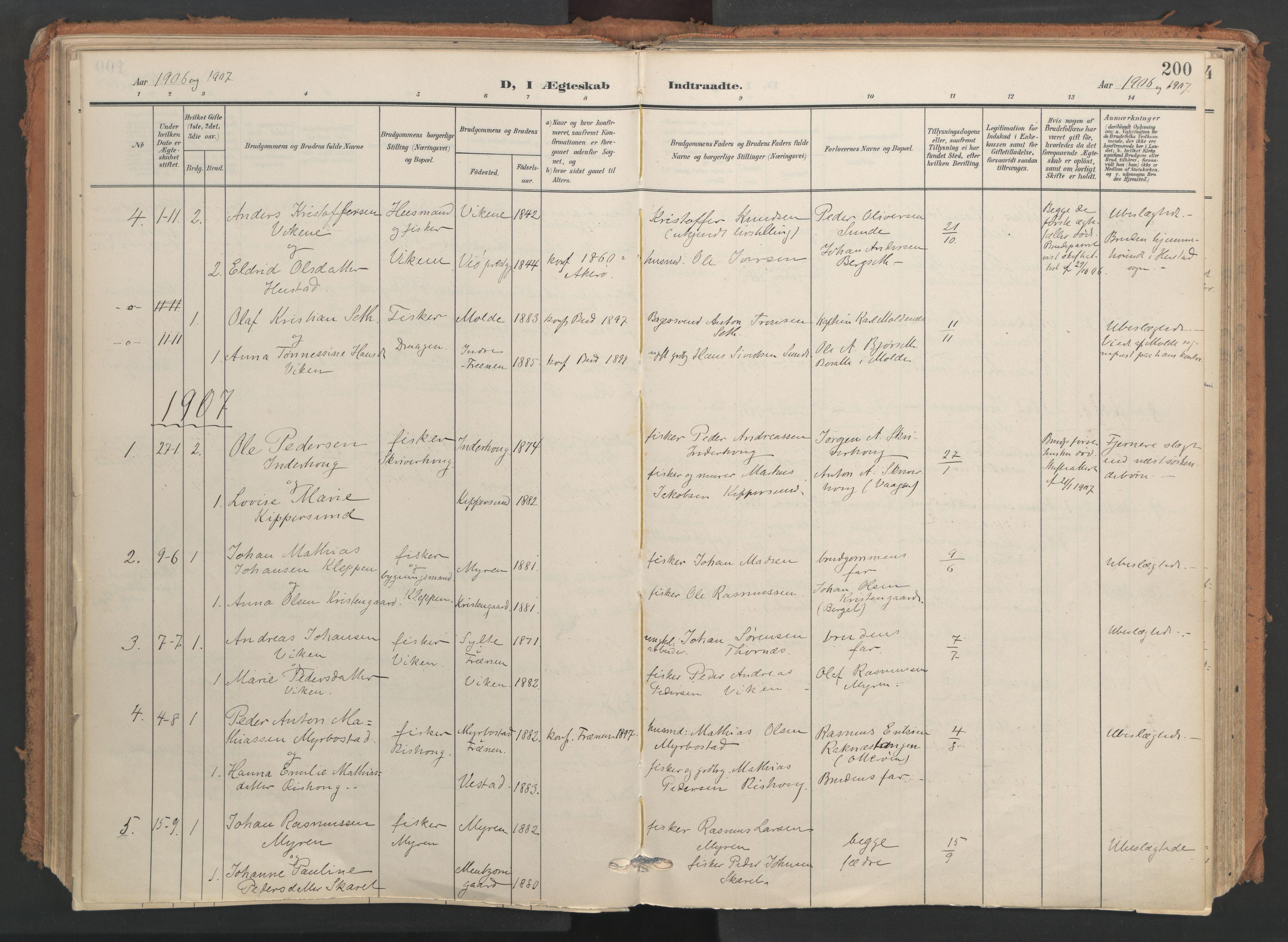 SAT, Ministerialprotokoller, klokkerbøker og fødselsregistre - Møre og Romsdal, 566/L0771: Ministerialbok nr. 566A10, 1904-1929, s. 200