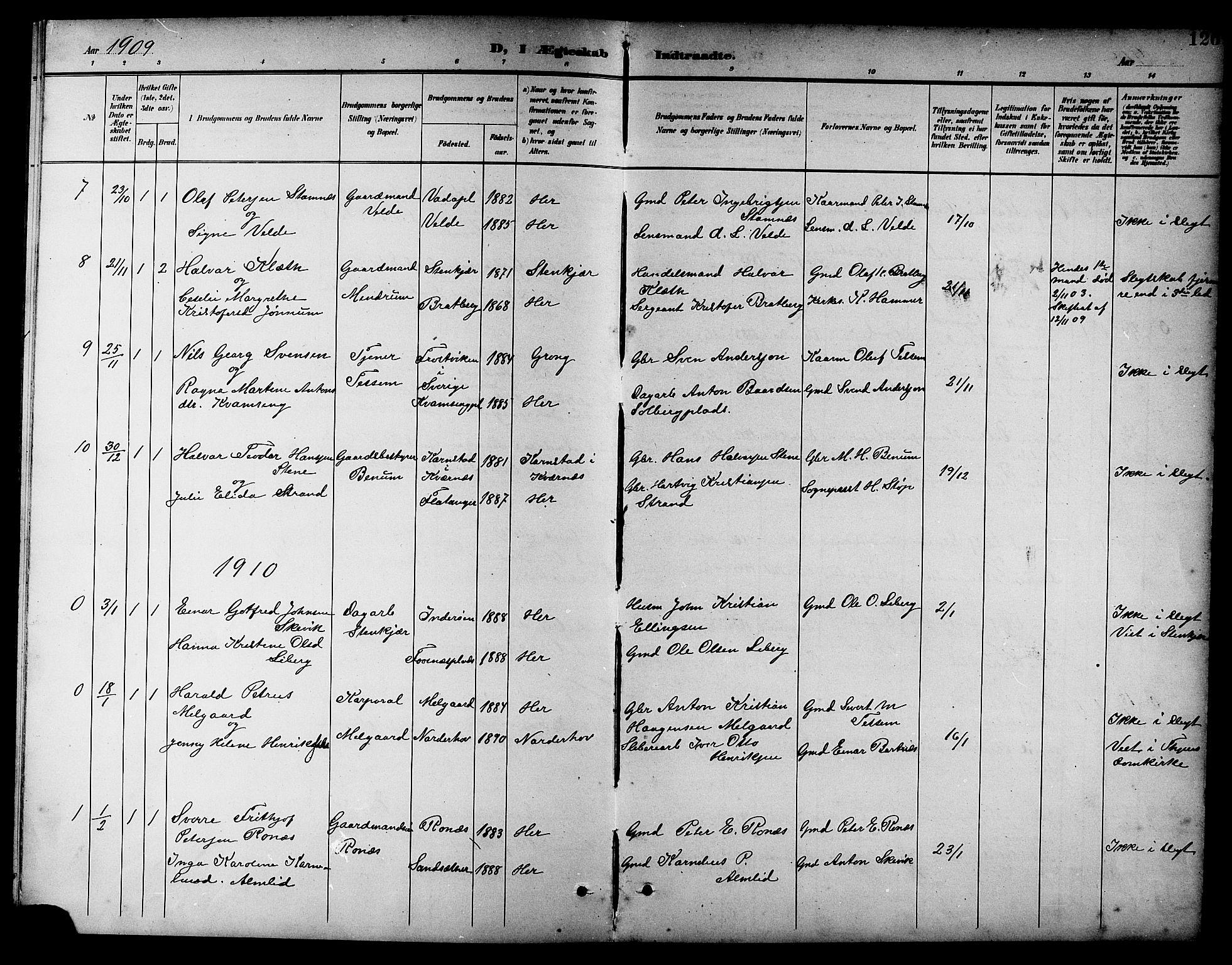 SAT, Ministerialprotokoller, klokkerbøker og fødselsregistre - Nord-Trøndelag, 741/L0401: Klokkerbok nr. 741C02, 1899-1911, s. 126